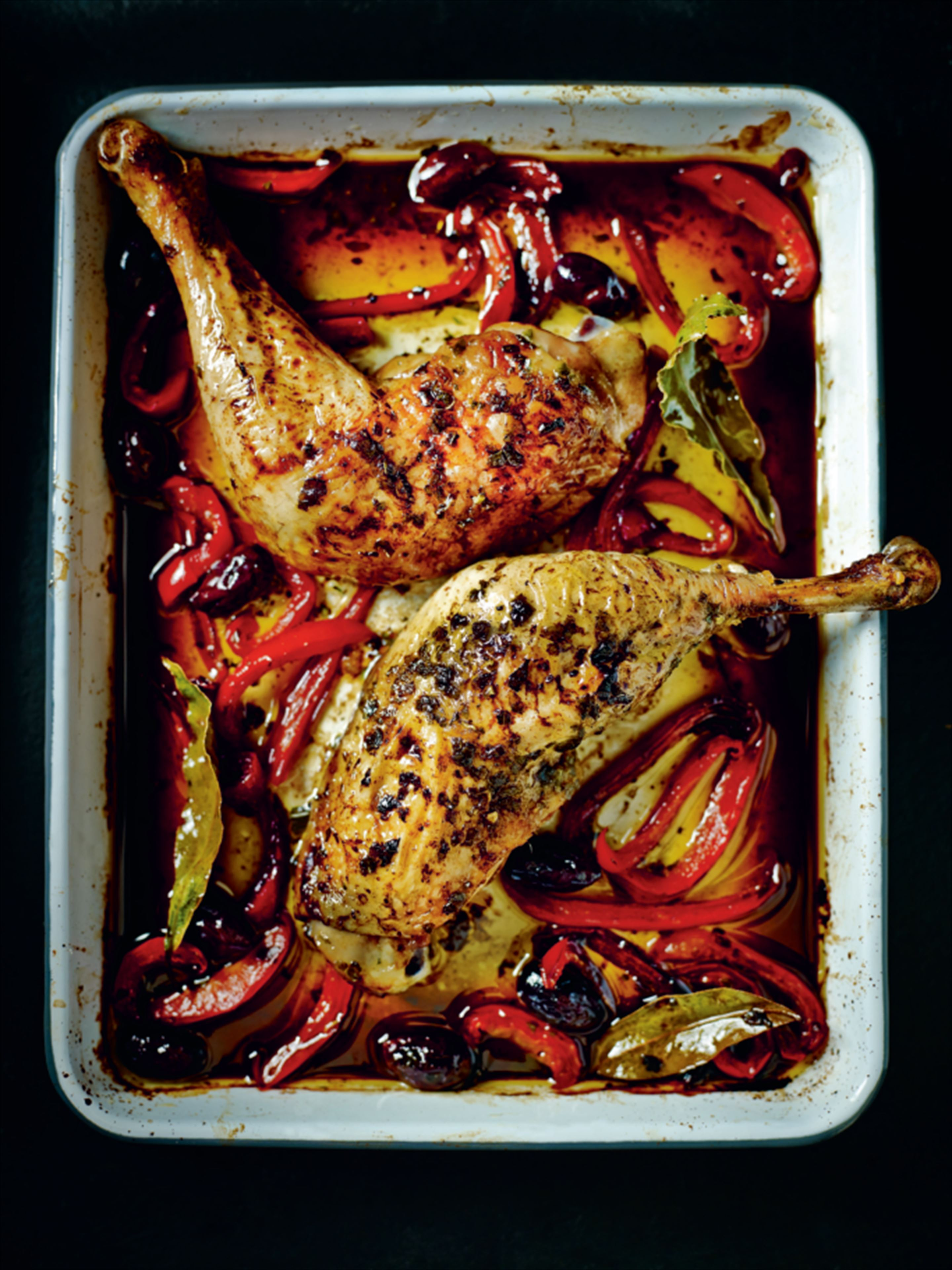 Chicken, red pepper and olive tray bake
