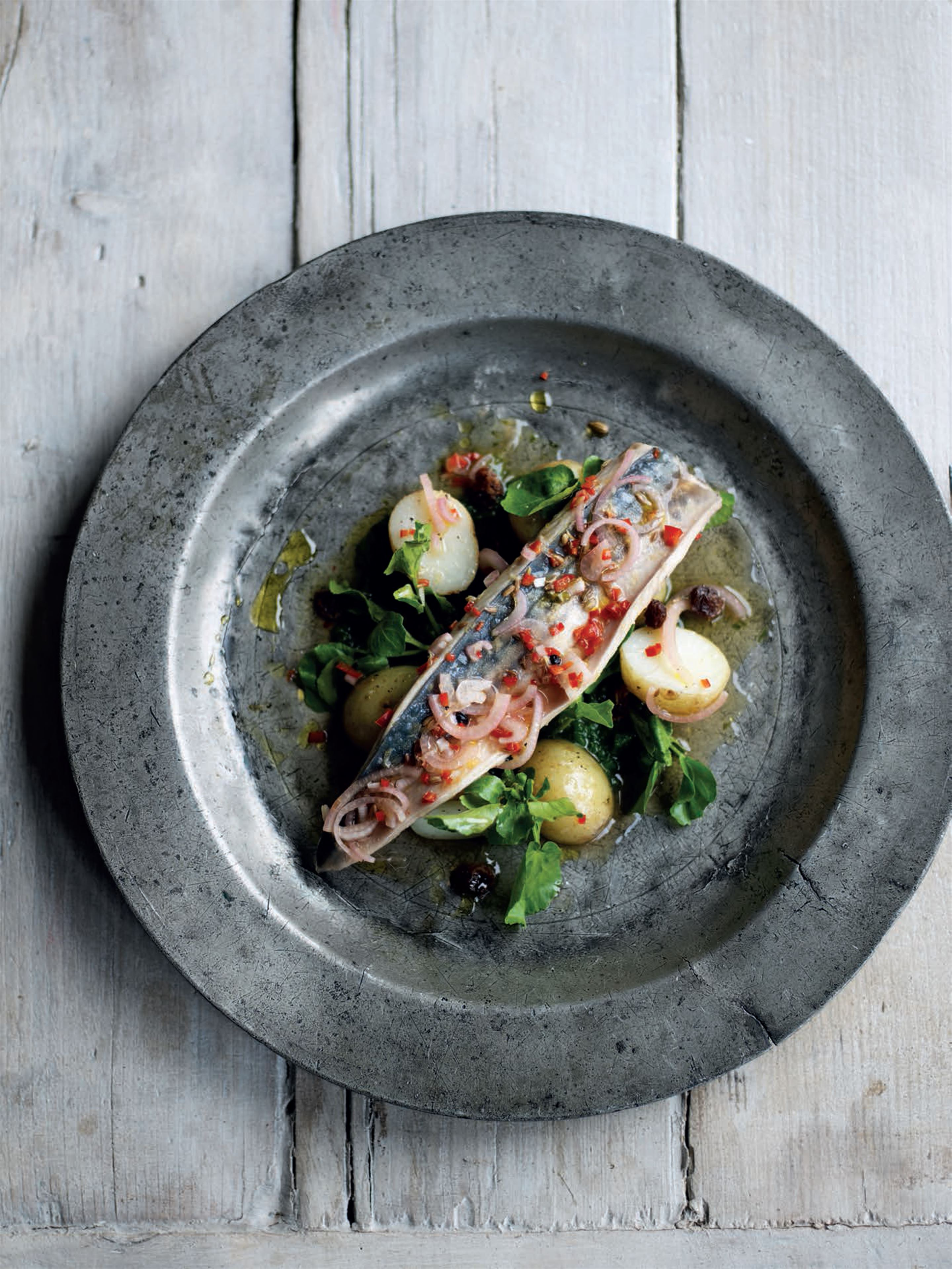 Pickled mackerel with potatoes and watercress