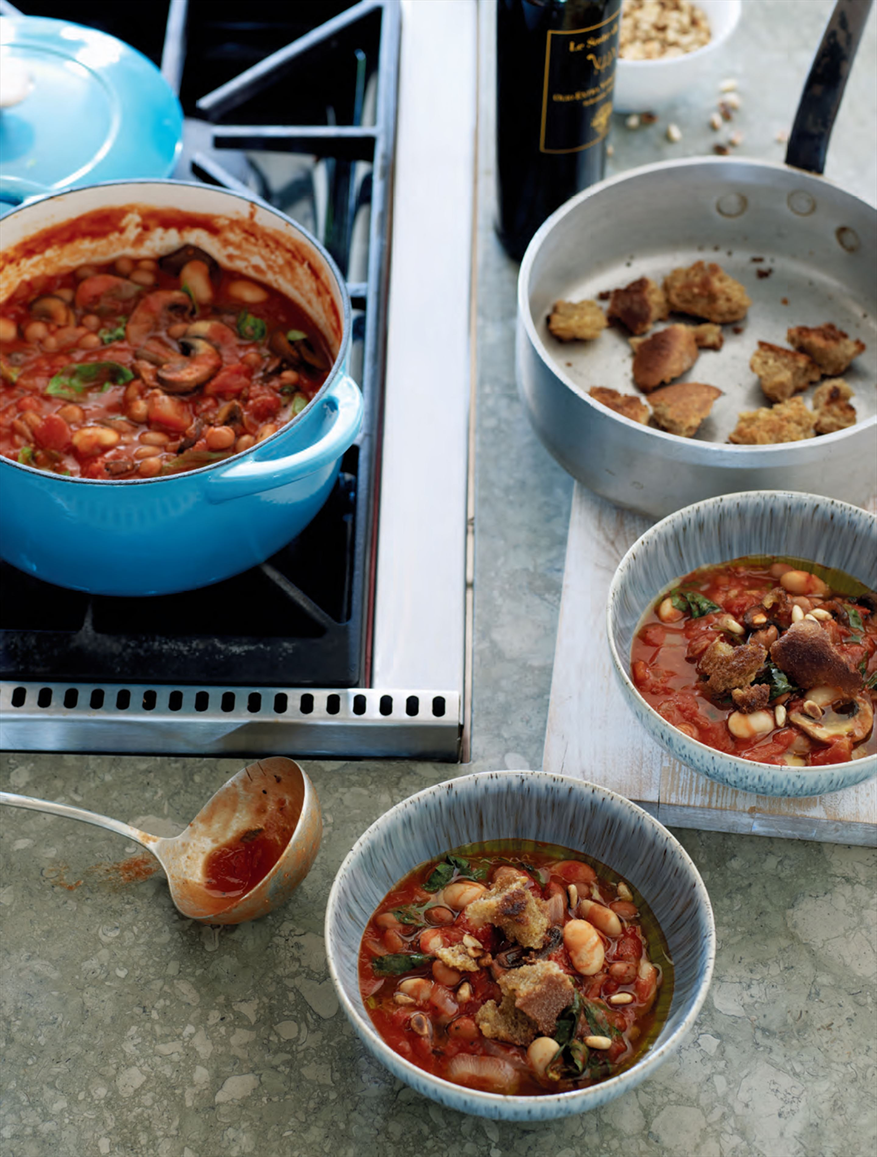 Tuscan bean stew with basil & pine nuts