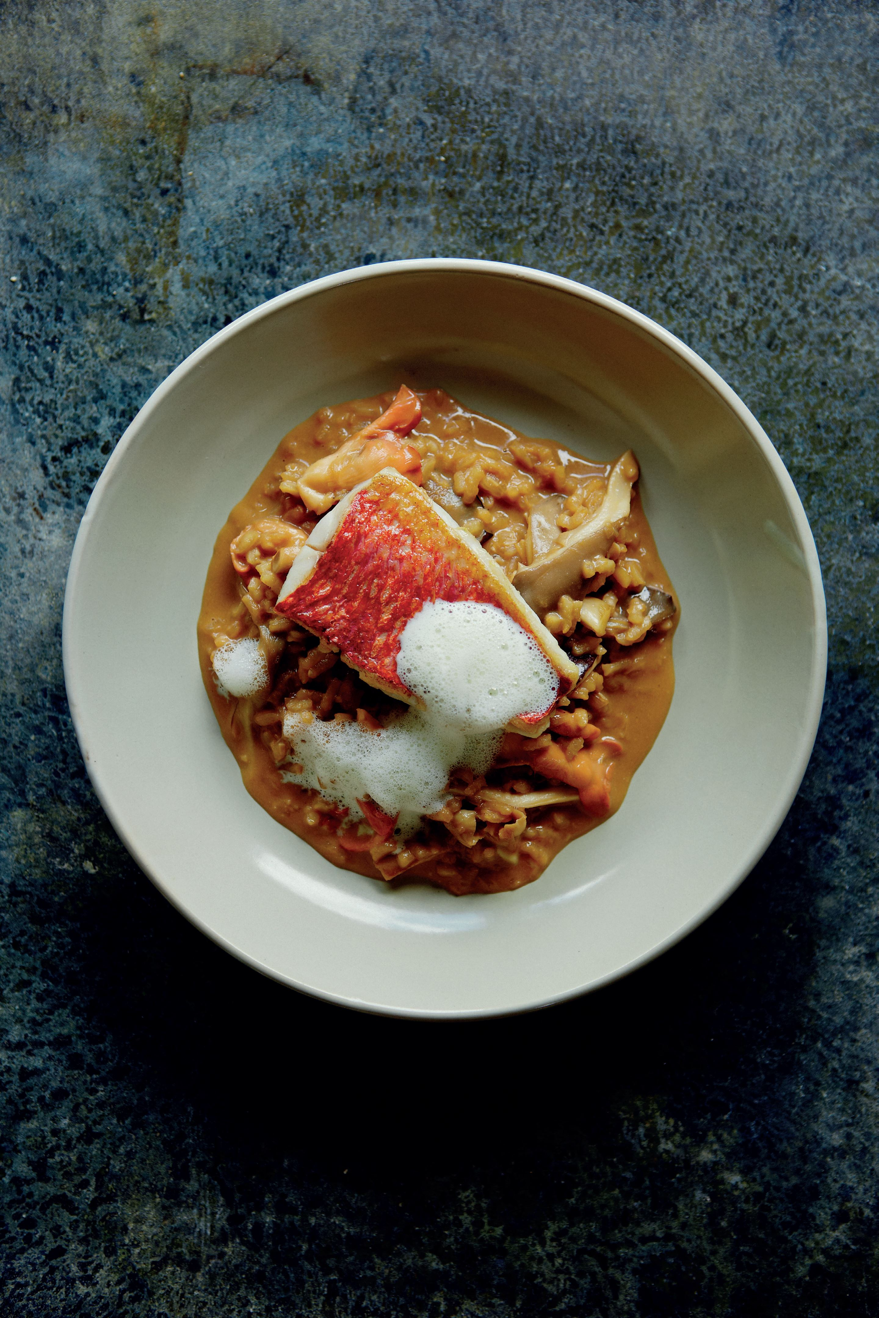 Teriyaki mushroom risotto with red mullet and lime leaf foam