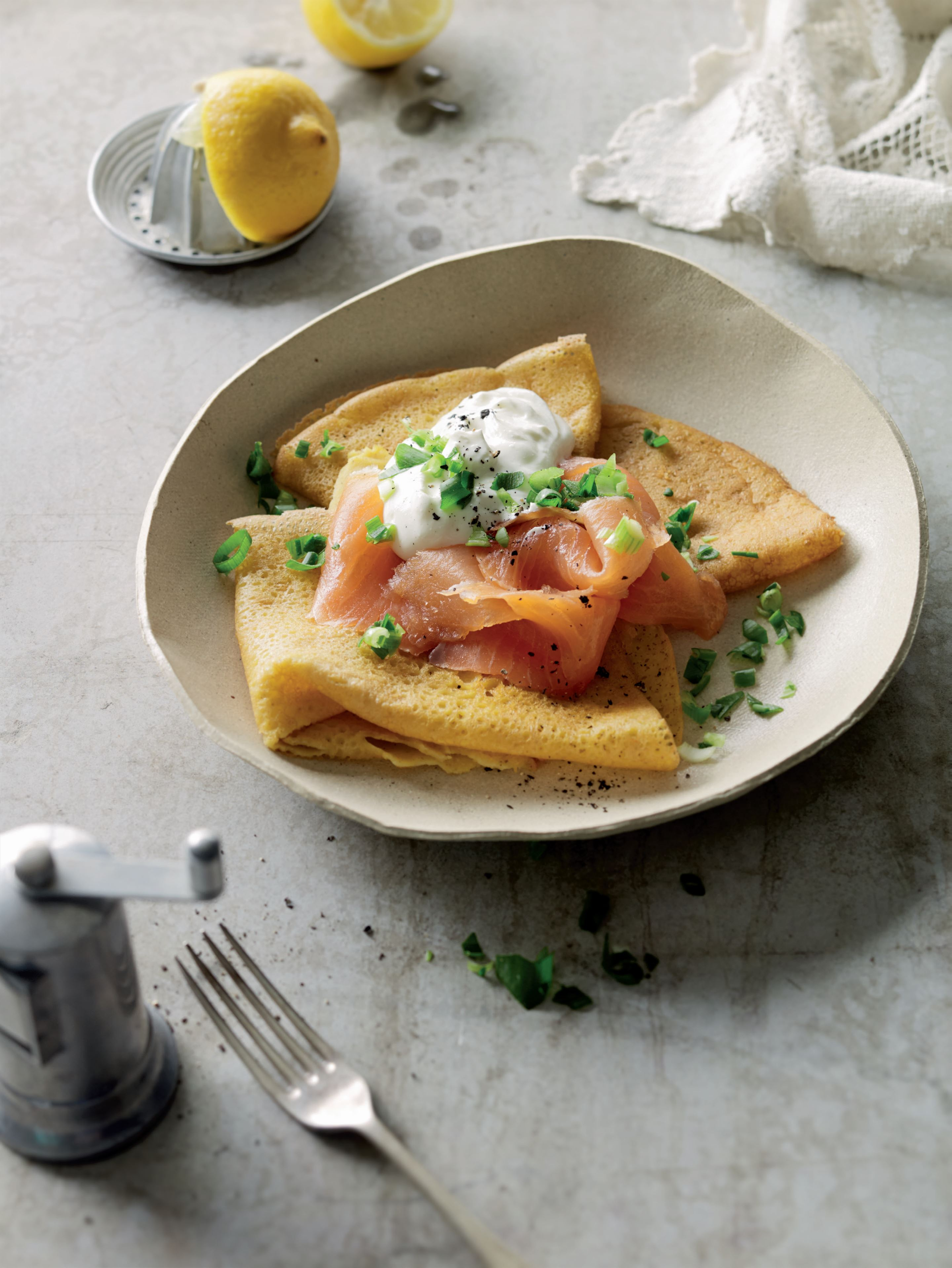 Socca with smoked salmon and whipped curds