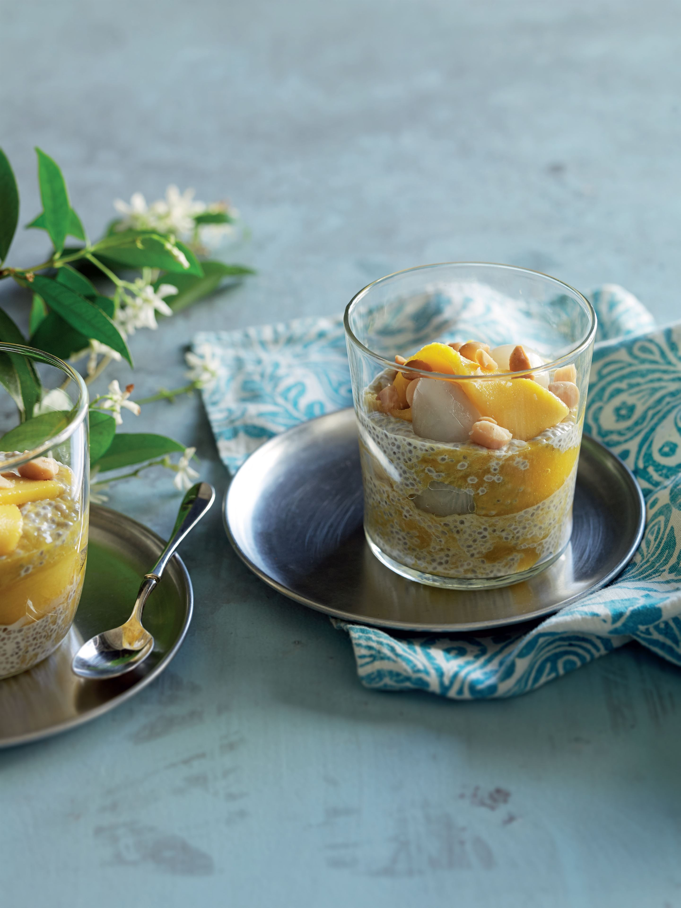 Chia, mango, coconut and macadamia trifle