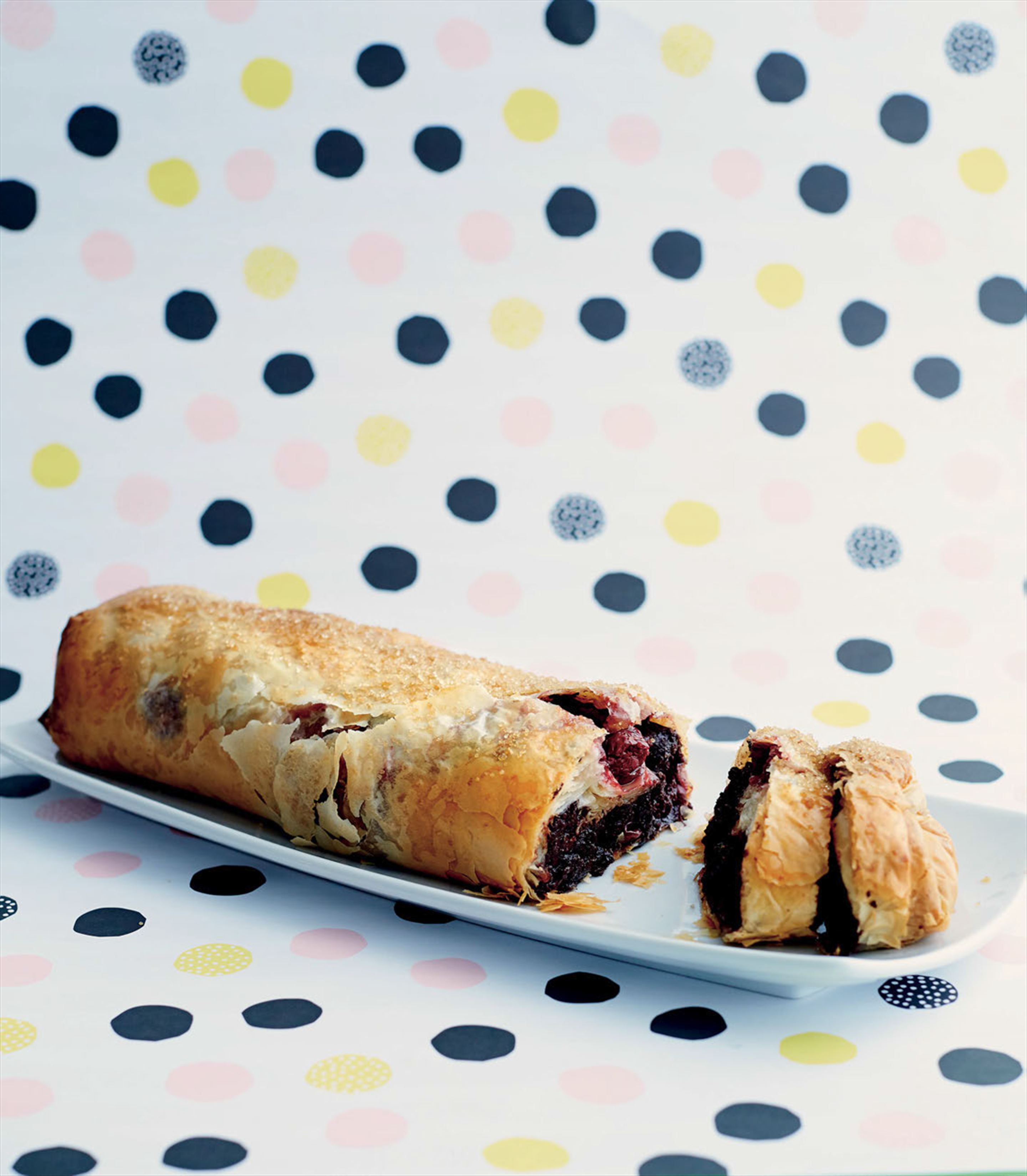 Cherry brownie strudel