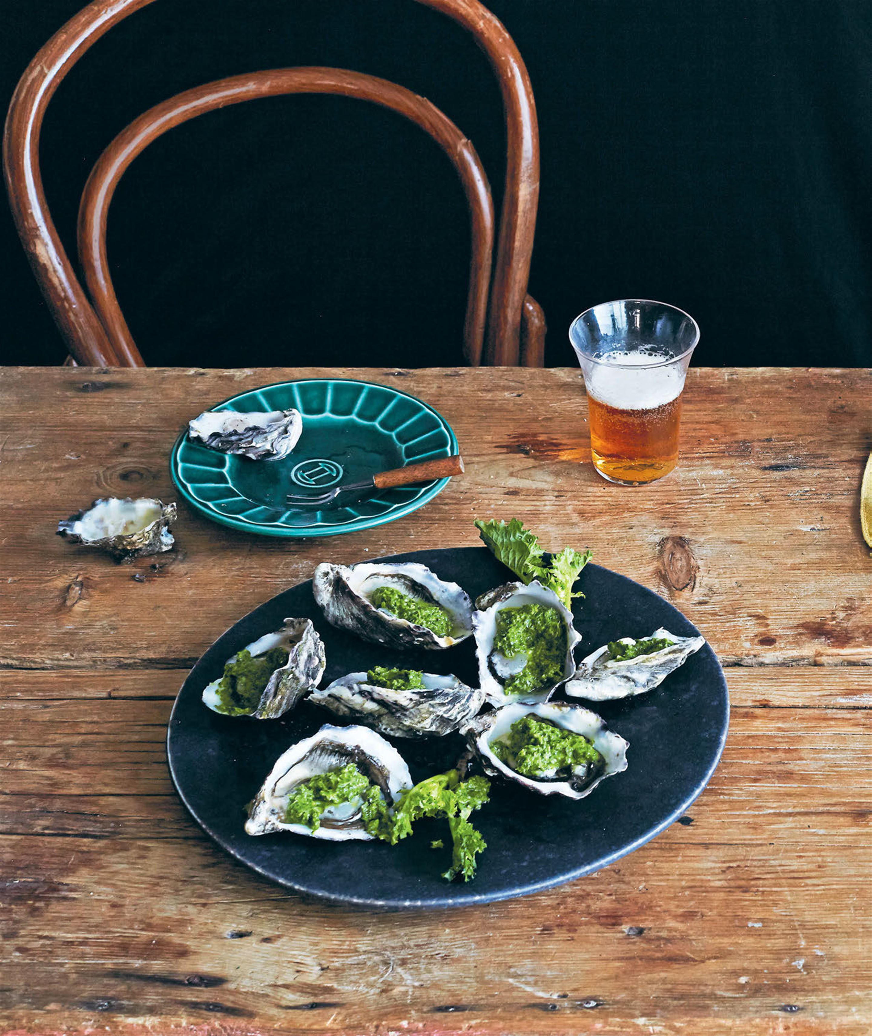 Oysters with broccoli rabe pesto