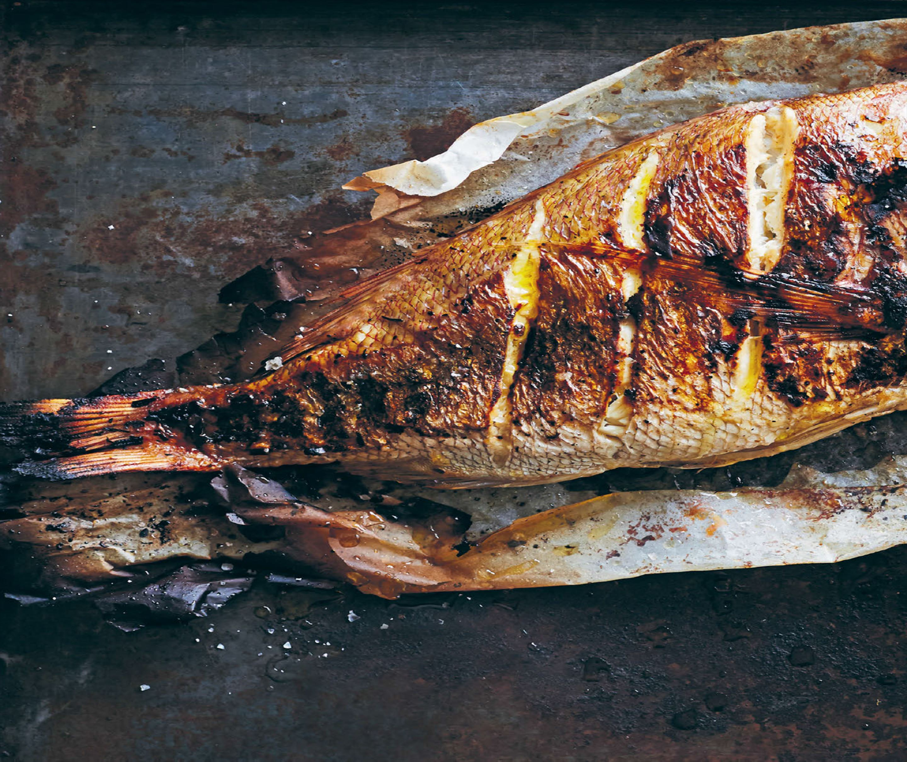 Barbecued snapper with capsicum