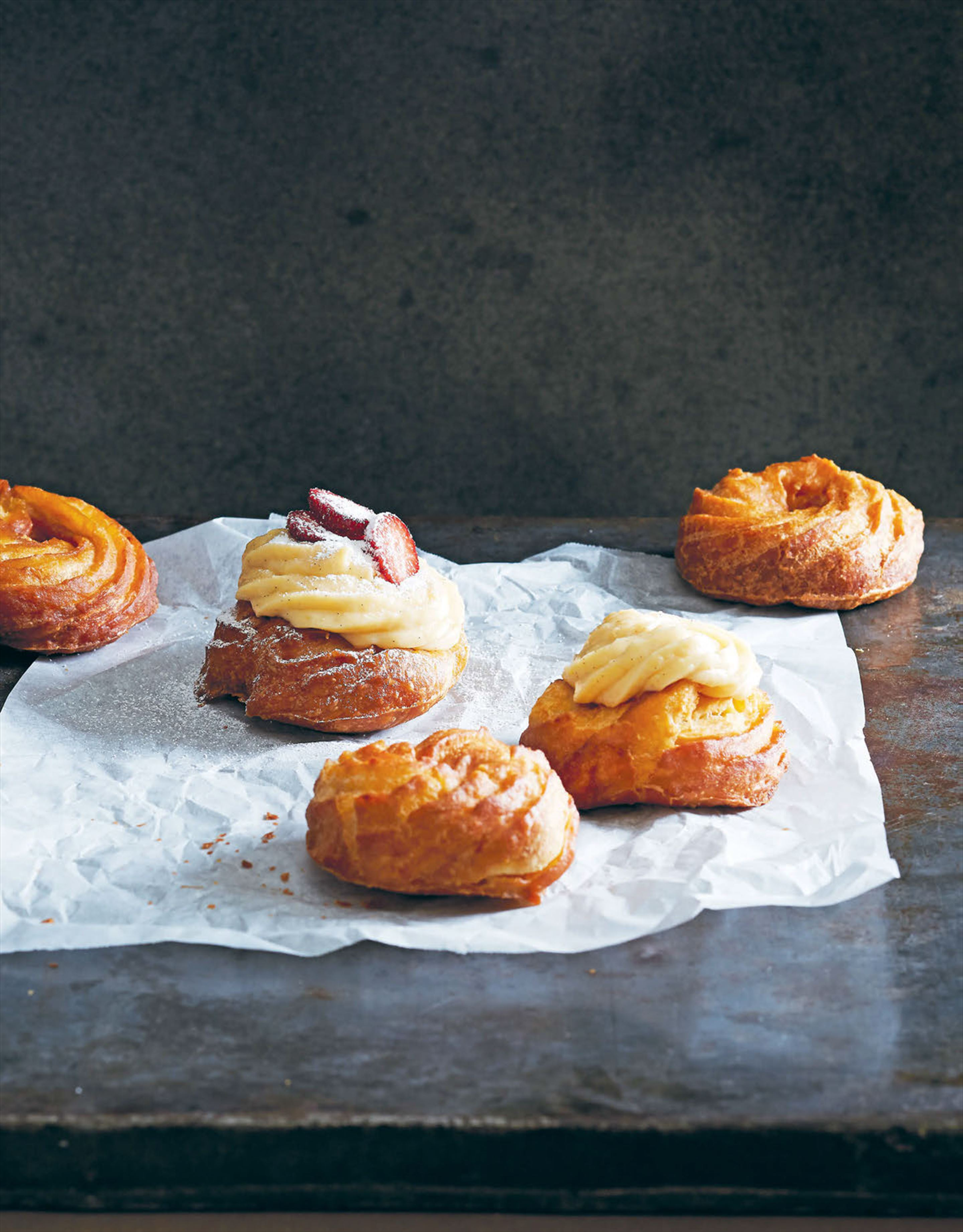 Sweet doughnuts with cream