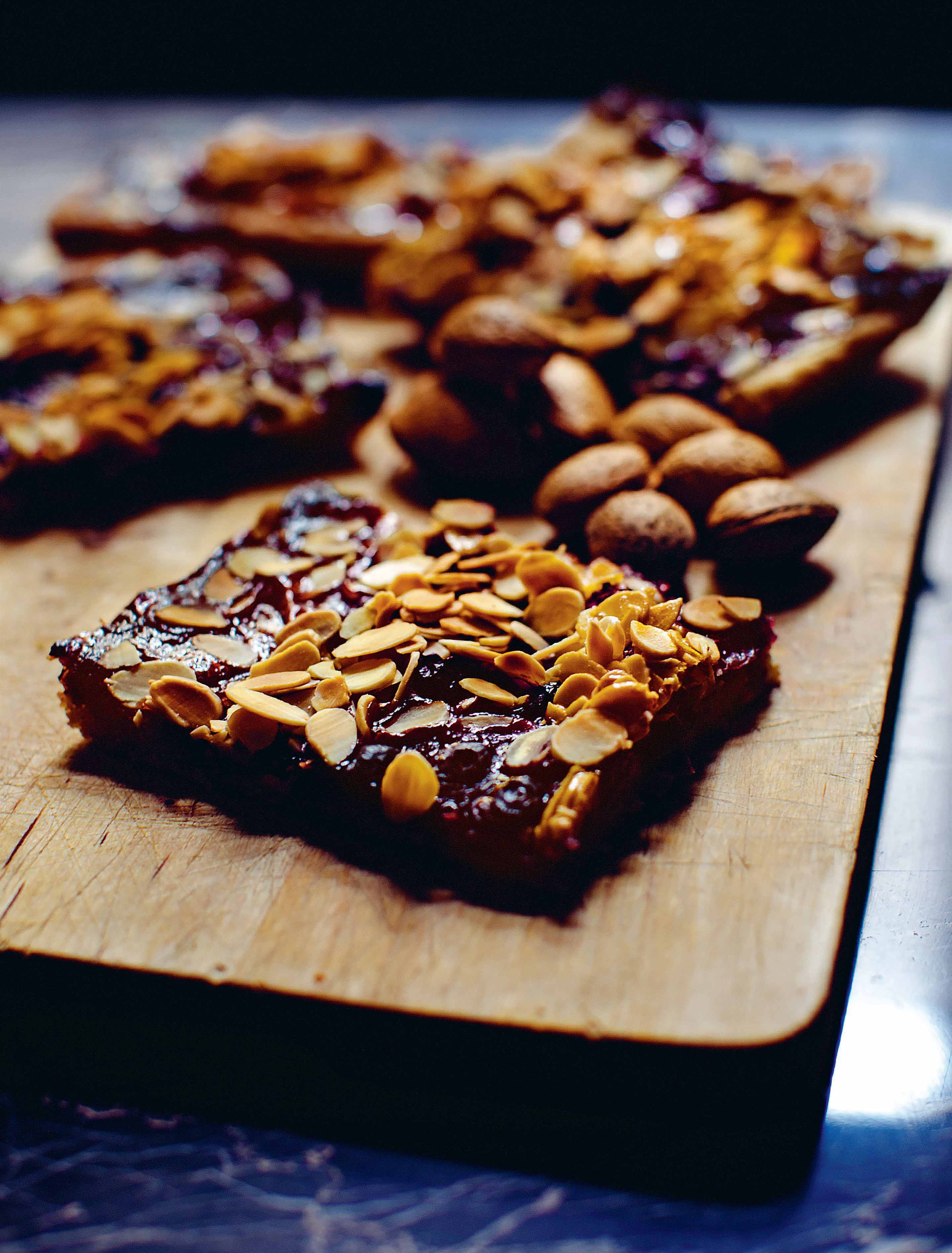 Blackberry and almond slices
