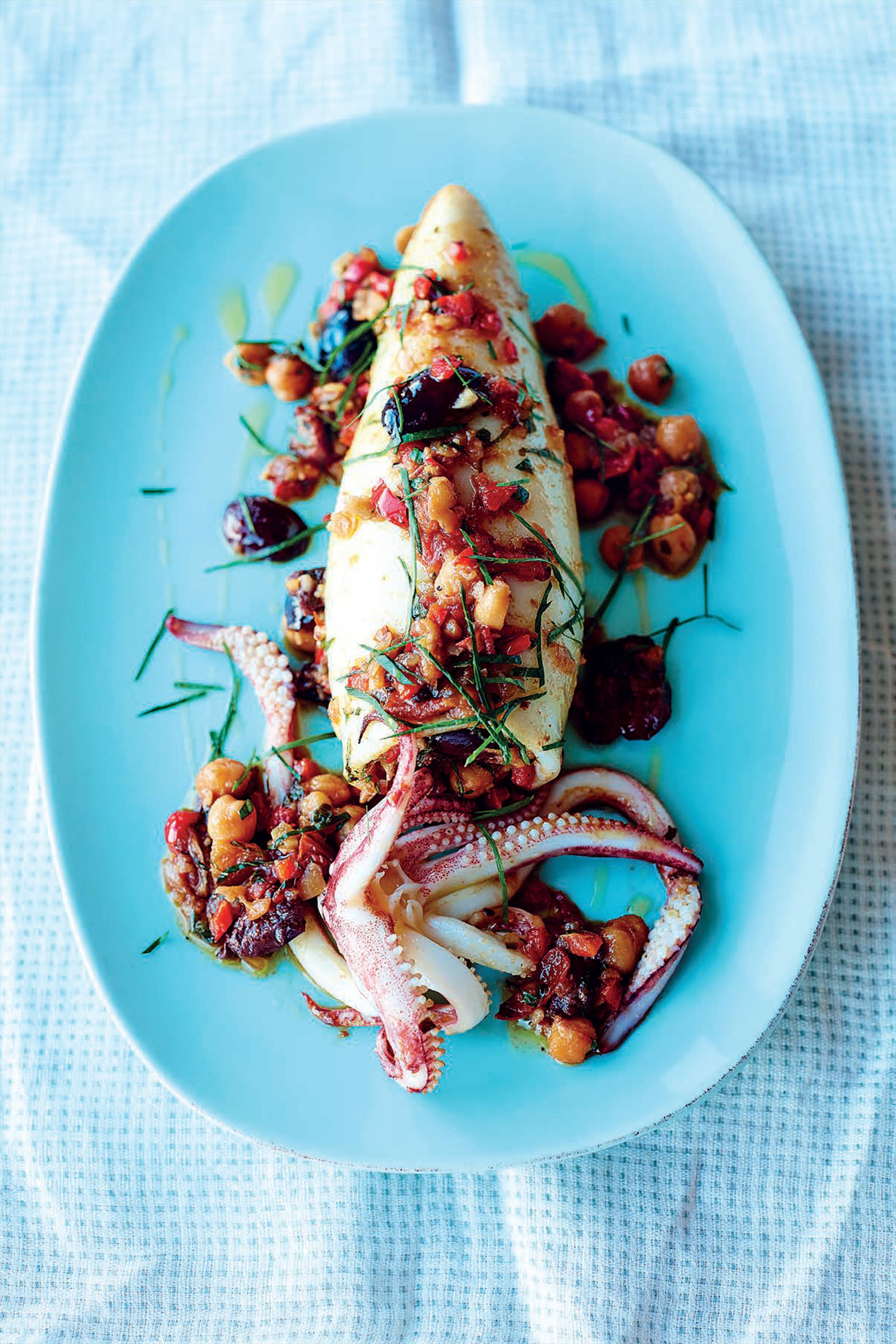 Stuffed squid, red peppers, chickpeas, olives and sherry
