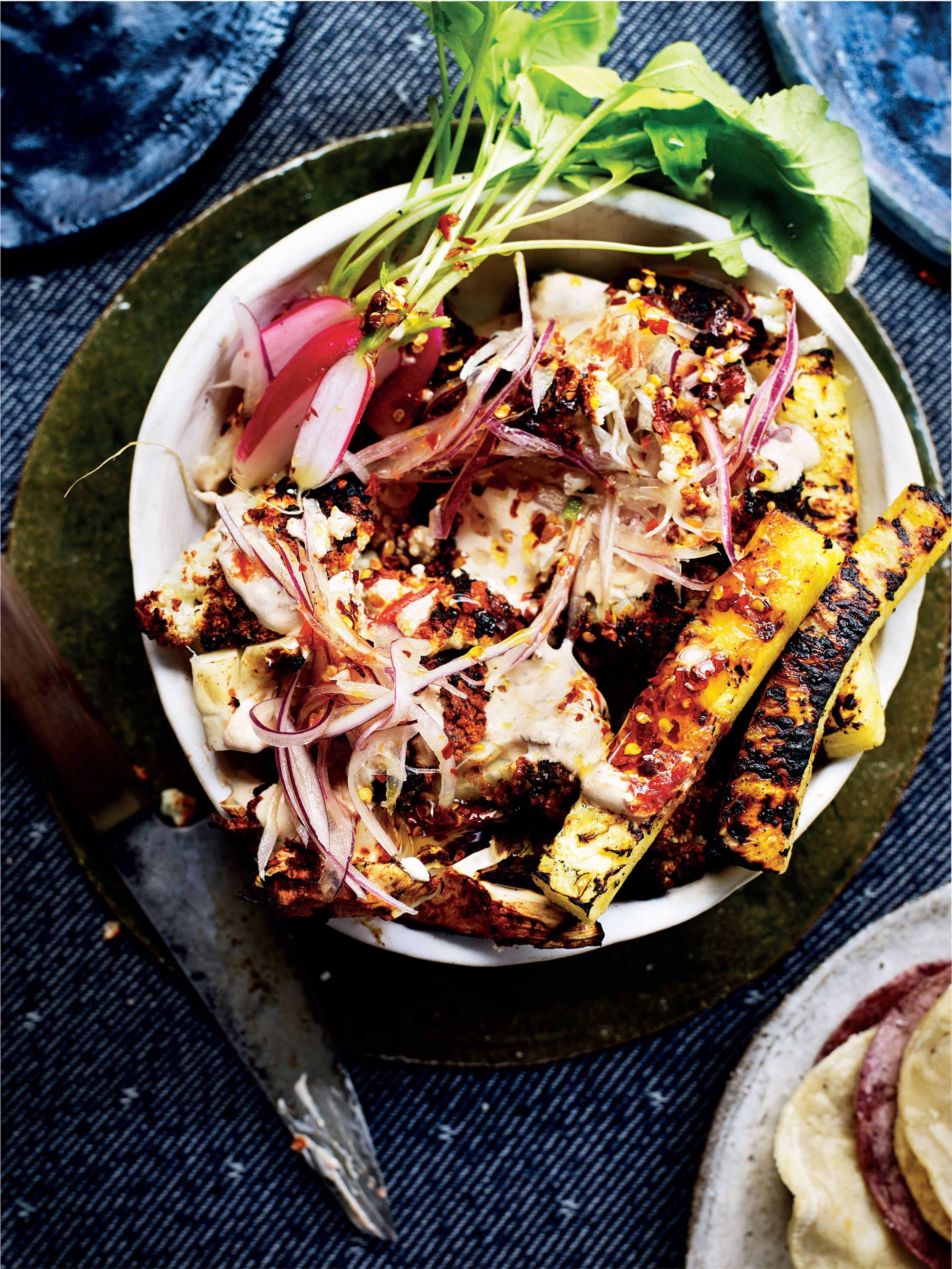 Cauliflower 'al pastor', pineapple & pickled onions