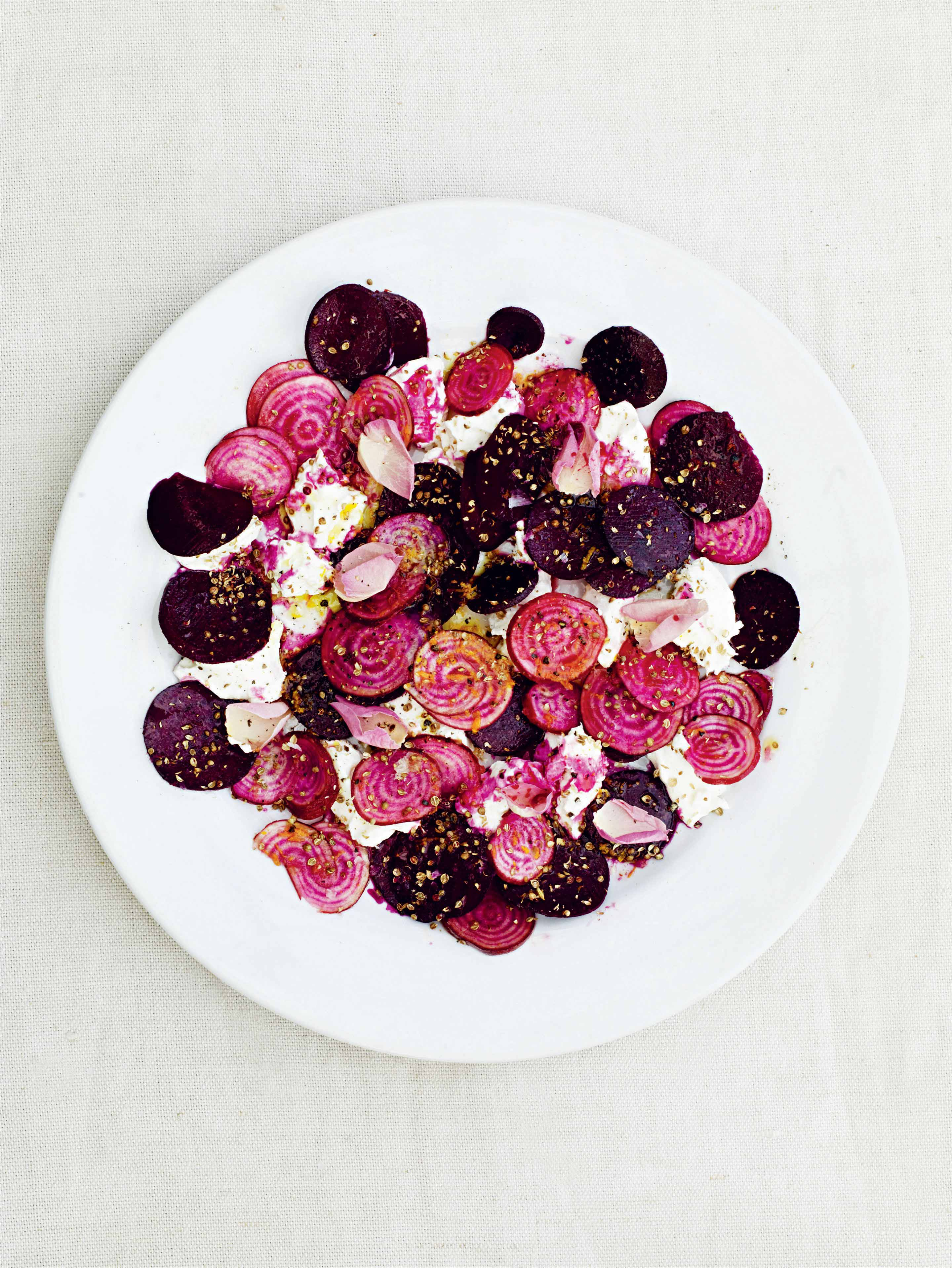 A salad of raw beetroot, curd & rose
