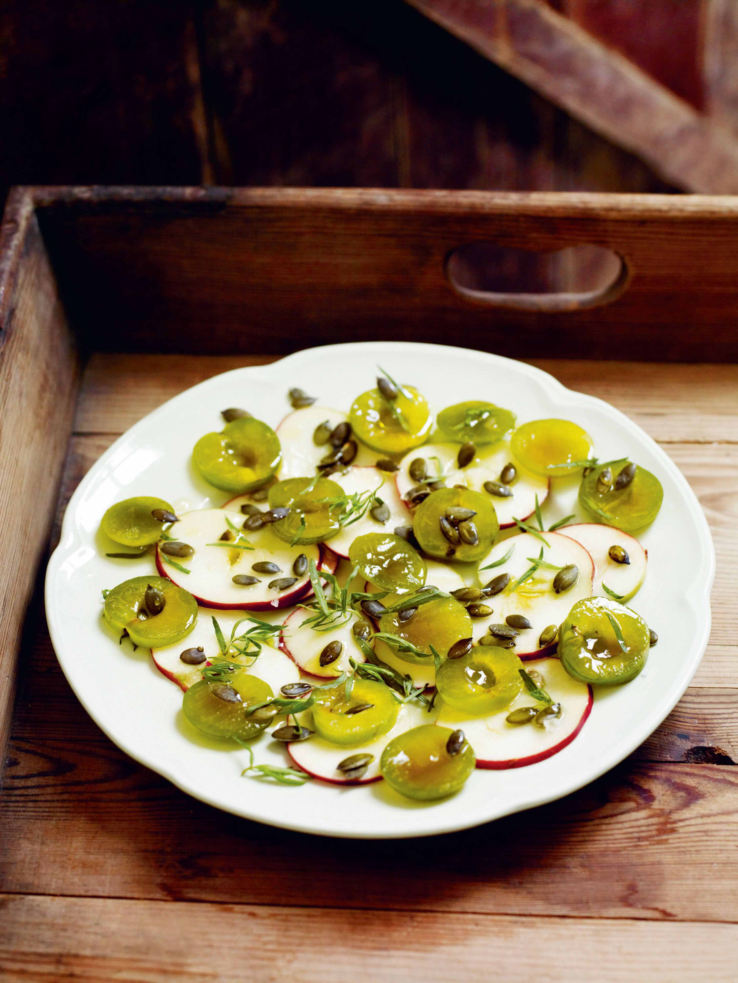 Apple, greengage & pumpkin-seed salad
