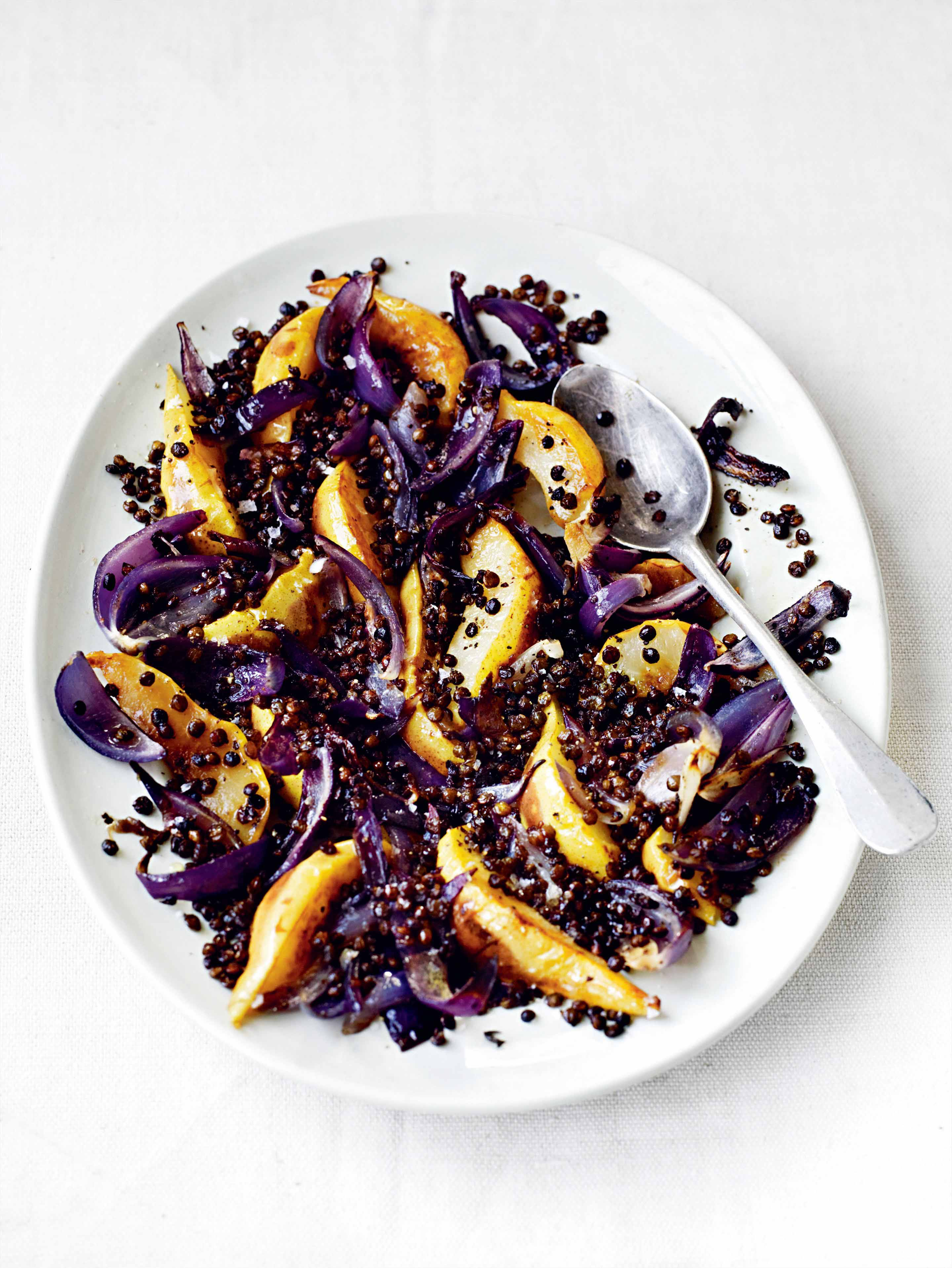 Fried pears with roast red onions & crisped puy lentils