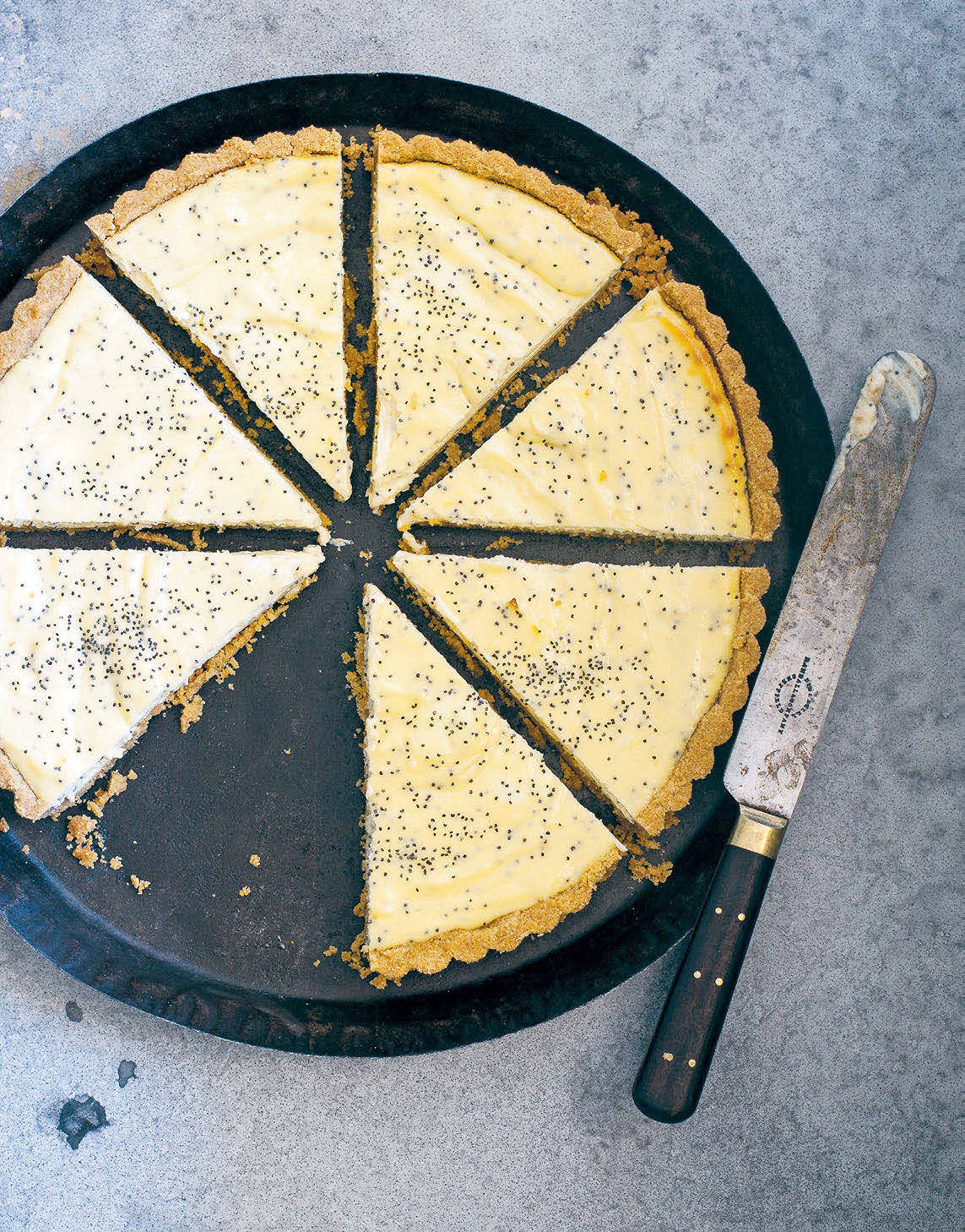 Lemon curd, ricotta and poppy seed pie