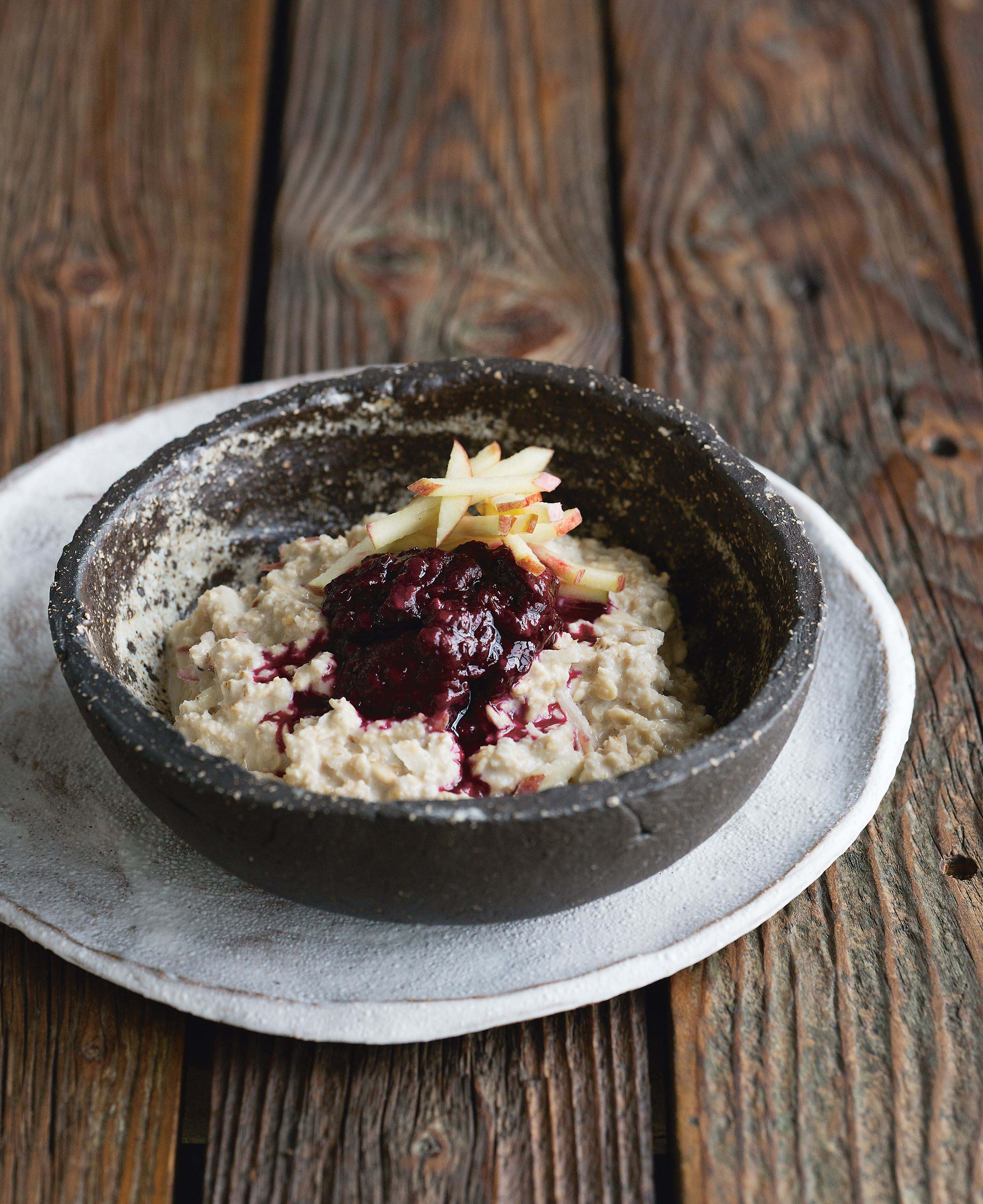 Blackberry + apple bircher