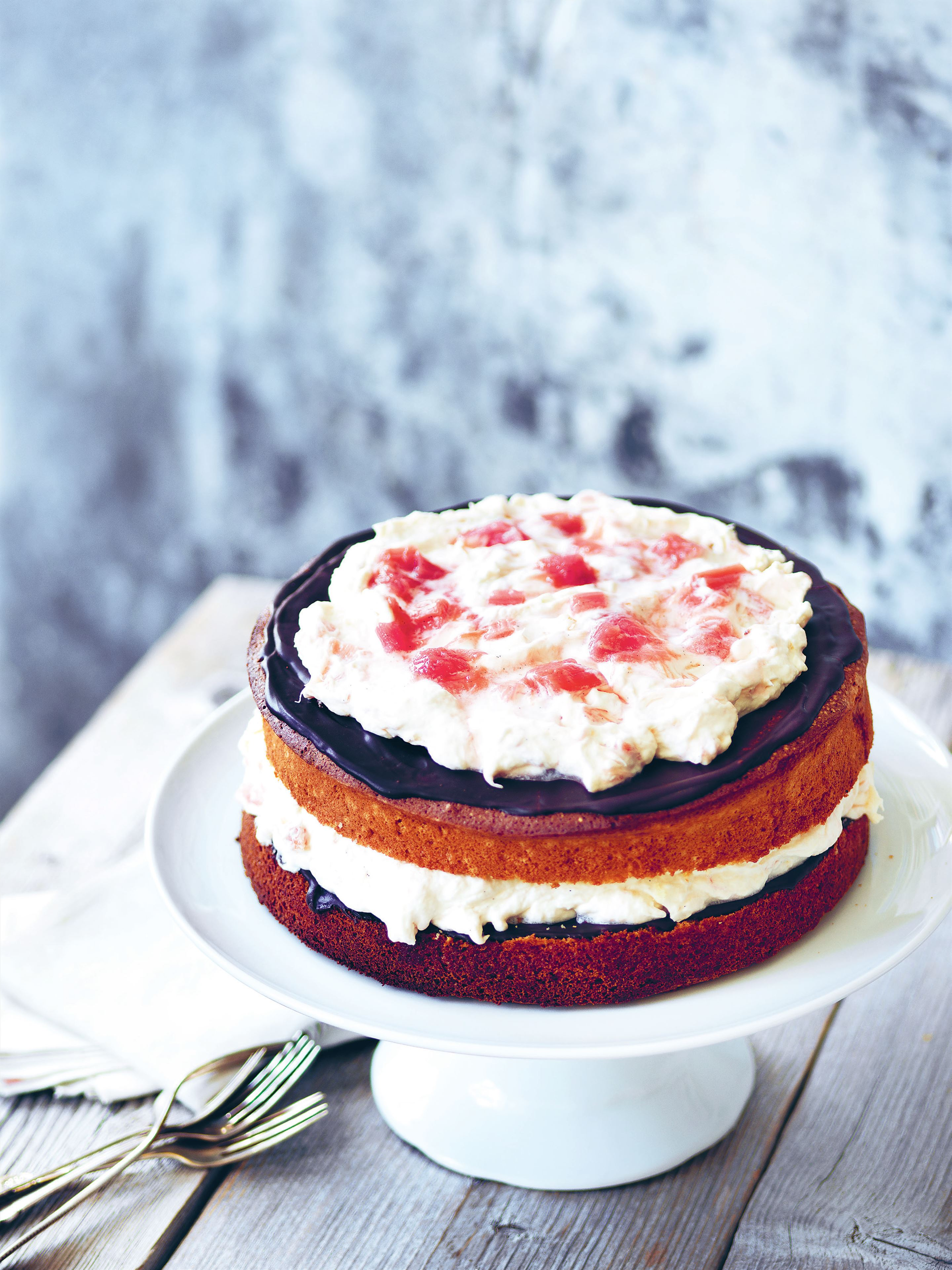 Rhubarb and chocolate layer cake