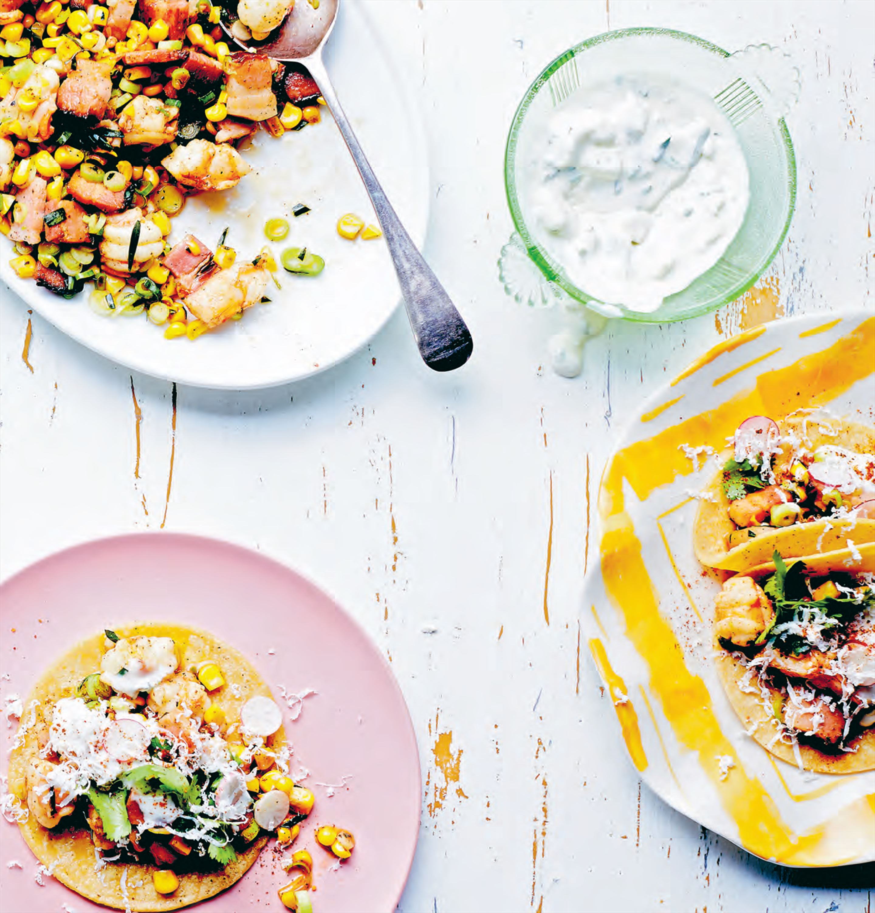 Corn, prawn & bacon tacos
