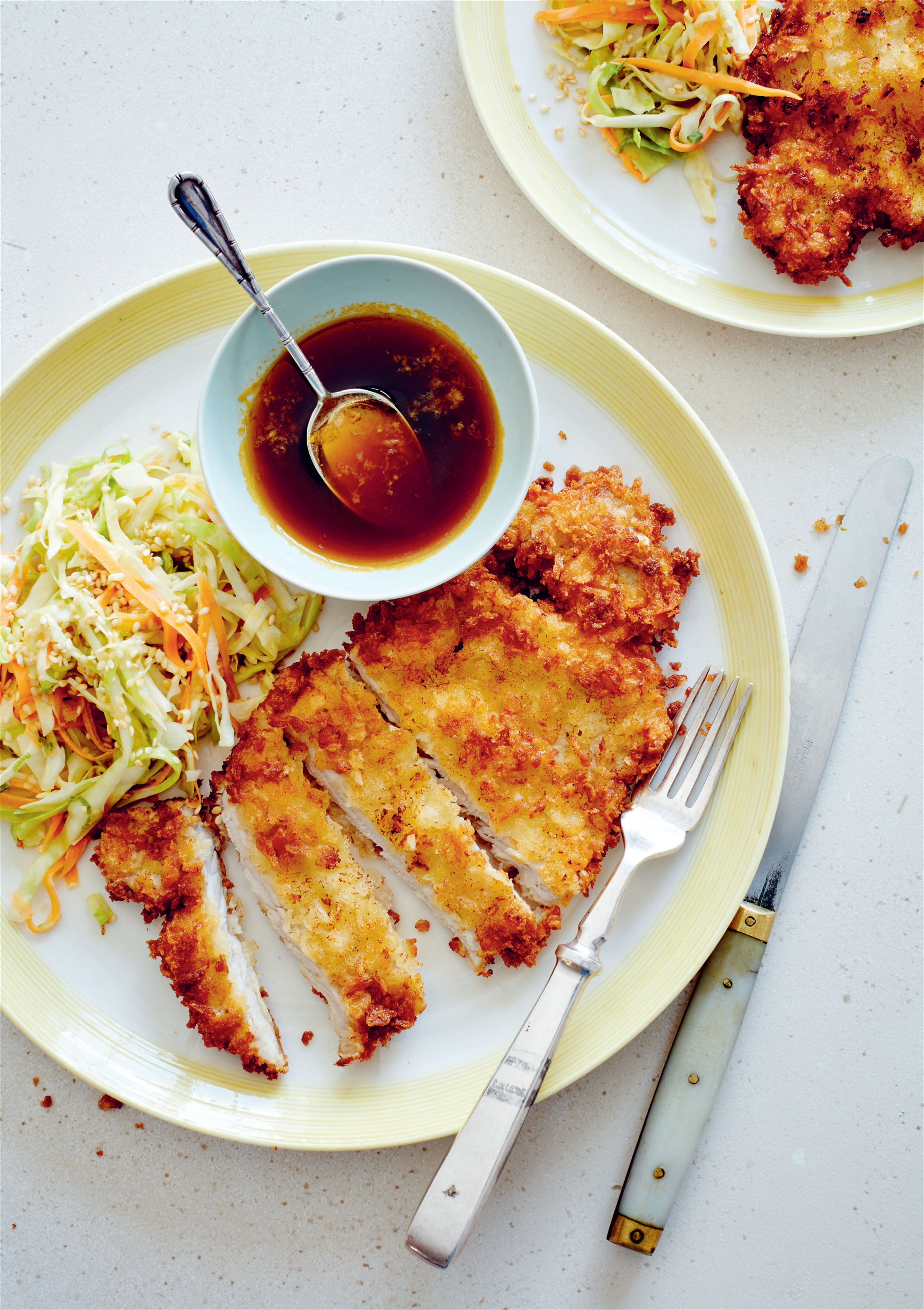 Tonkatsu with yuzu coleslaw and ponzu