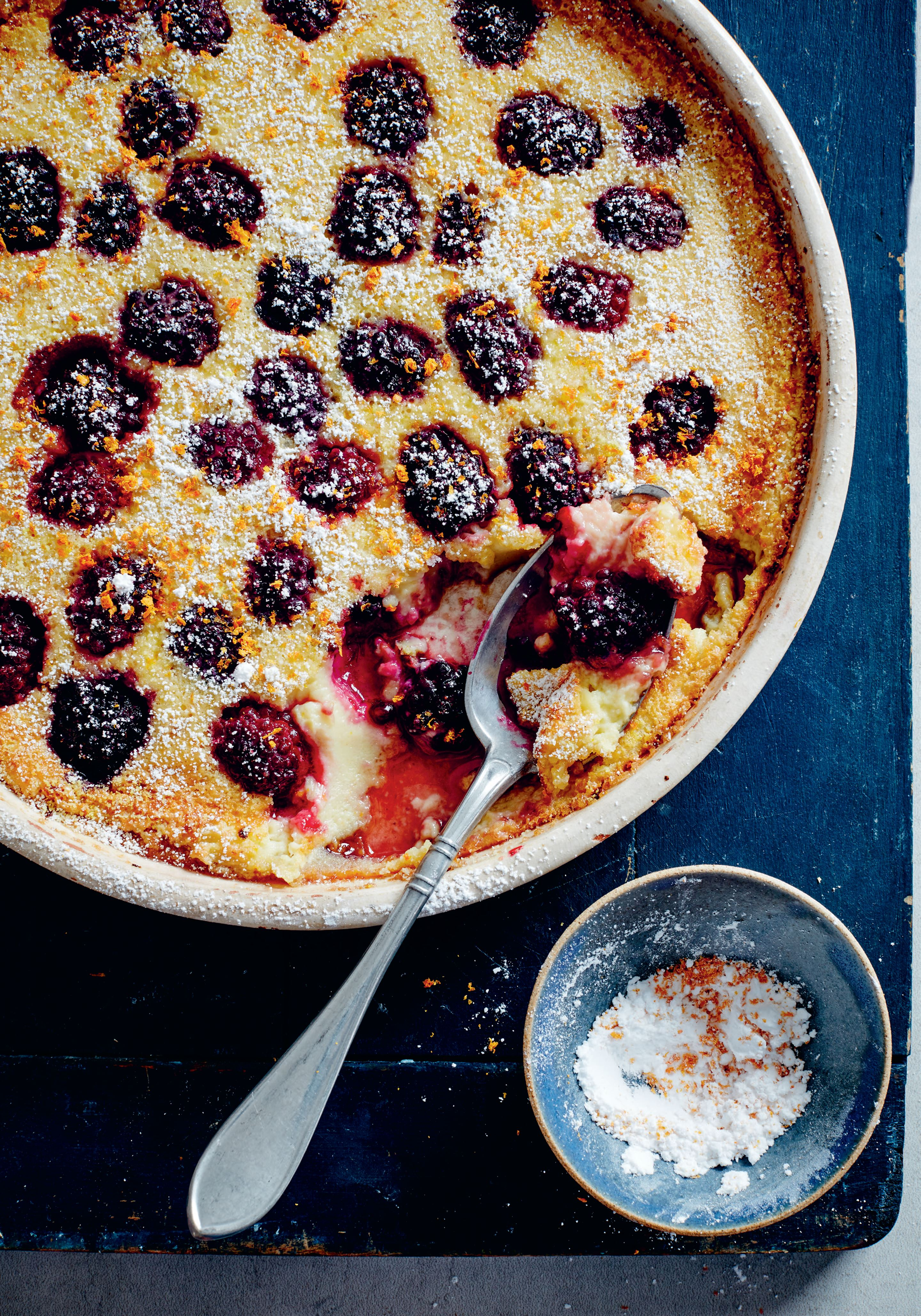 Blackberry, orange and orange blossom clafoutis