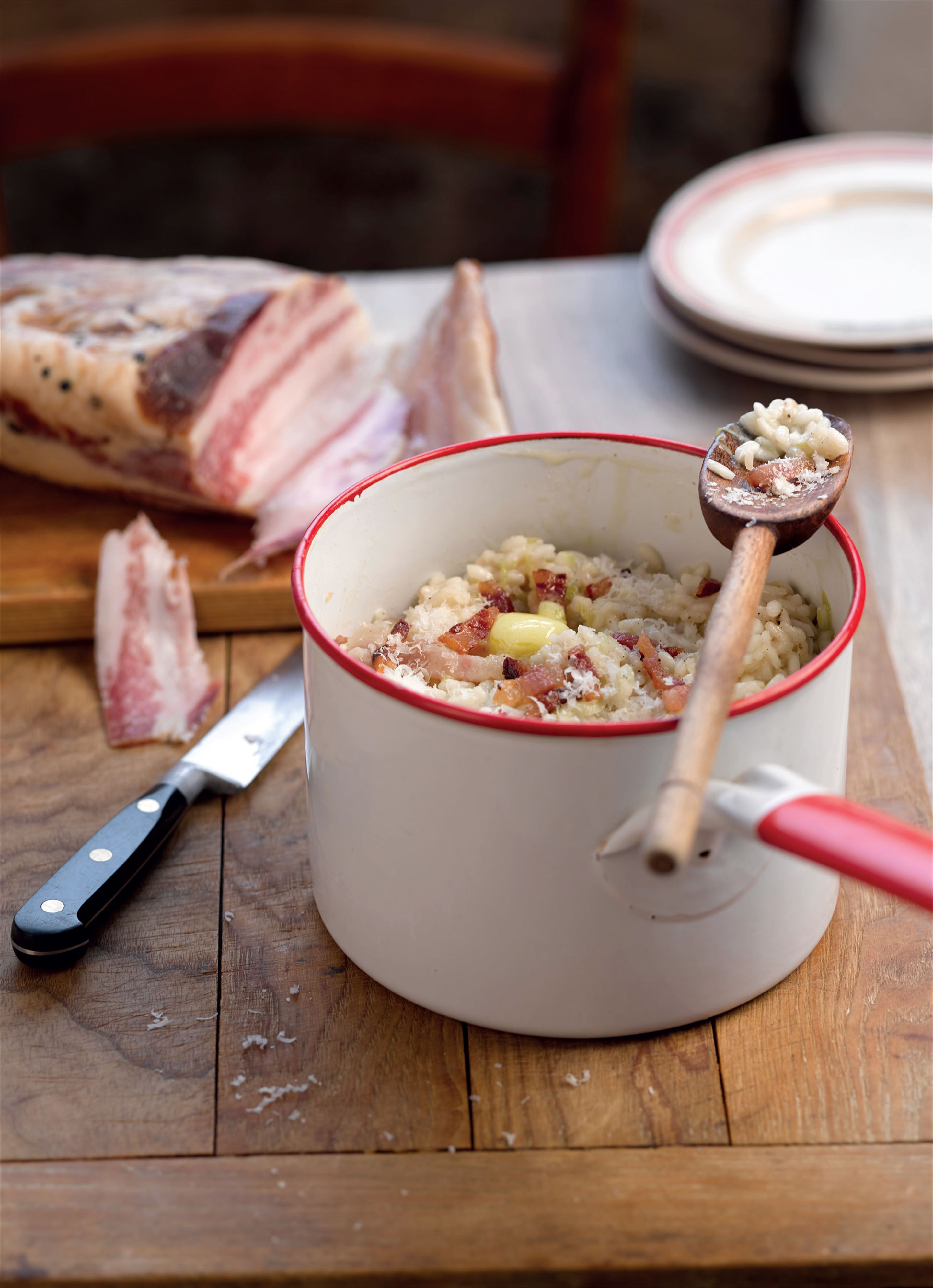 Risotto with pancetta and leeks