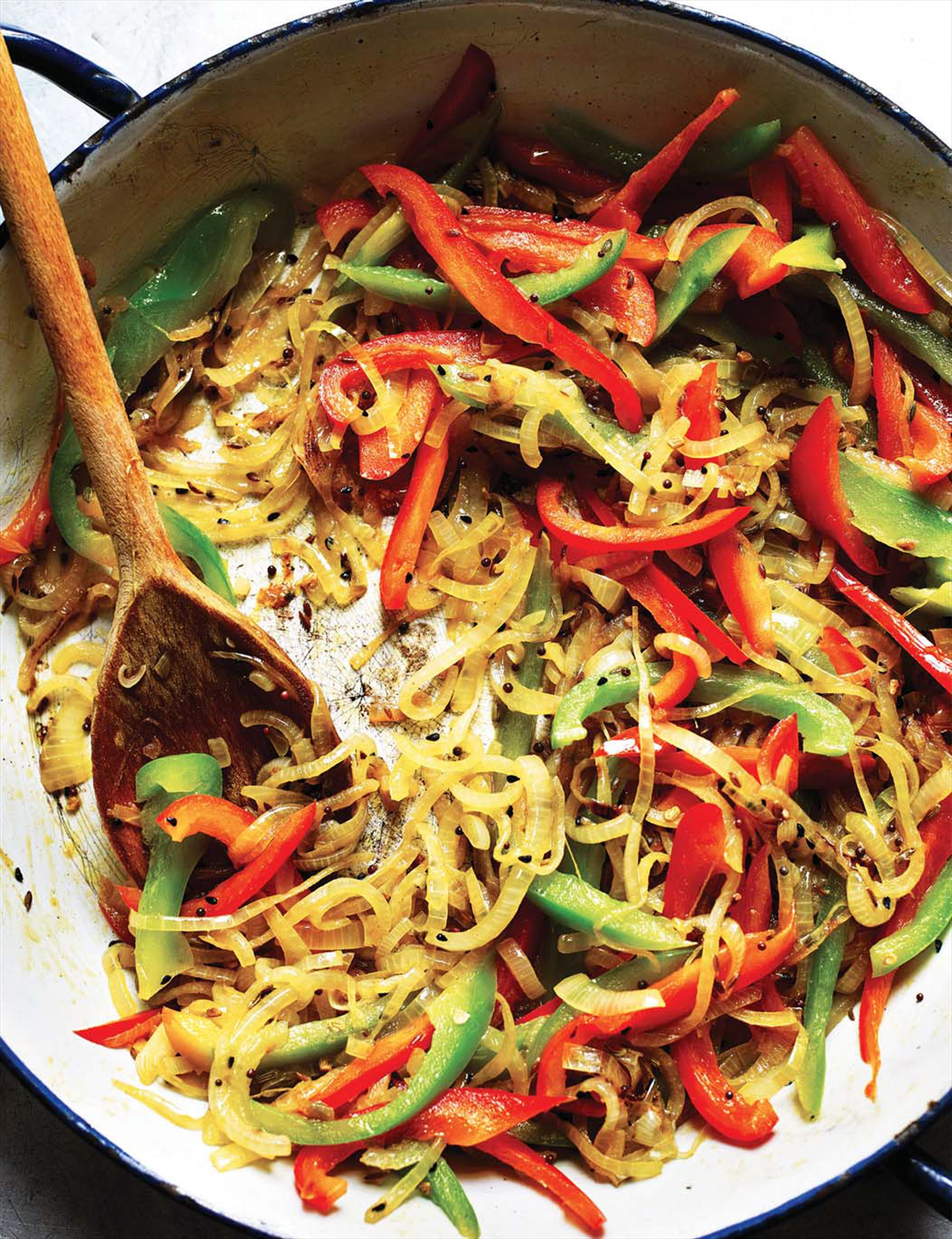 Stir-fried onions and other veggies