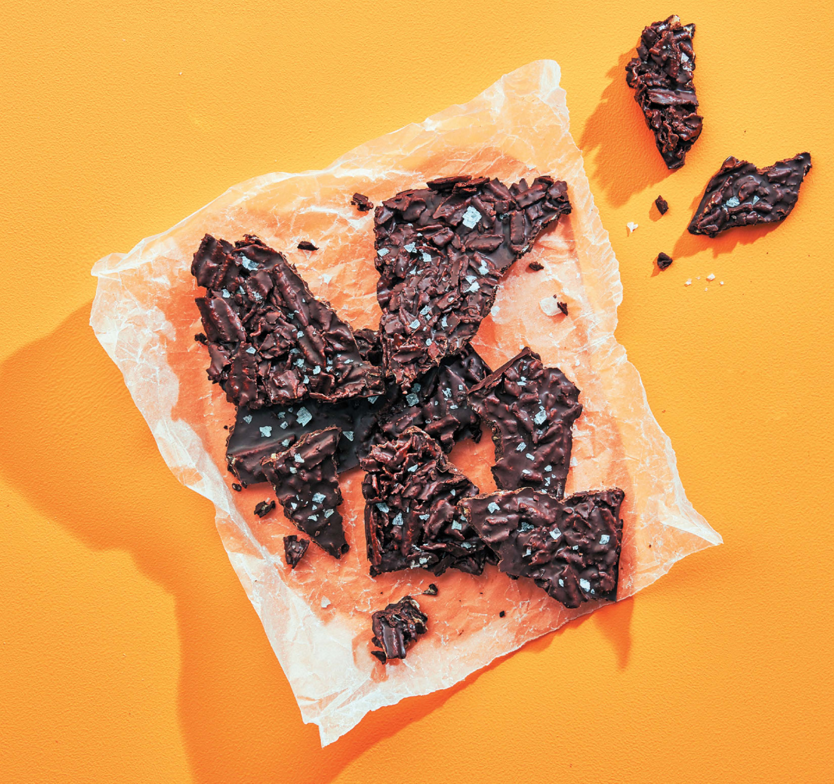 Dark chilli chocolate and potato chip bark