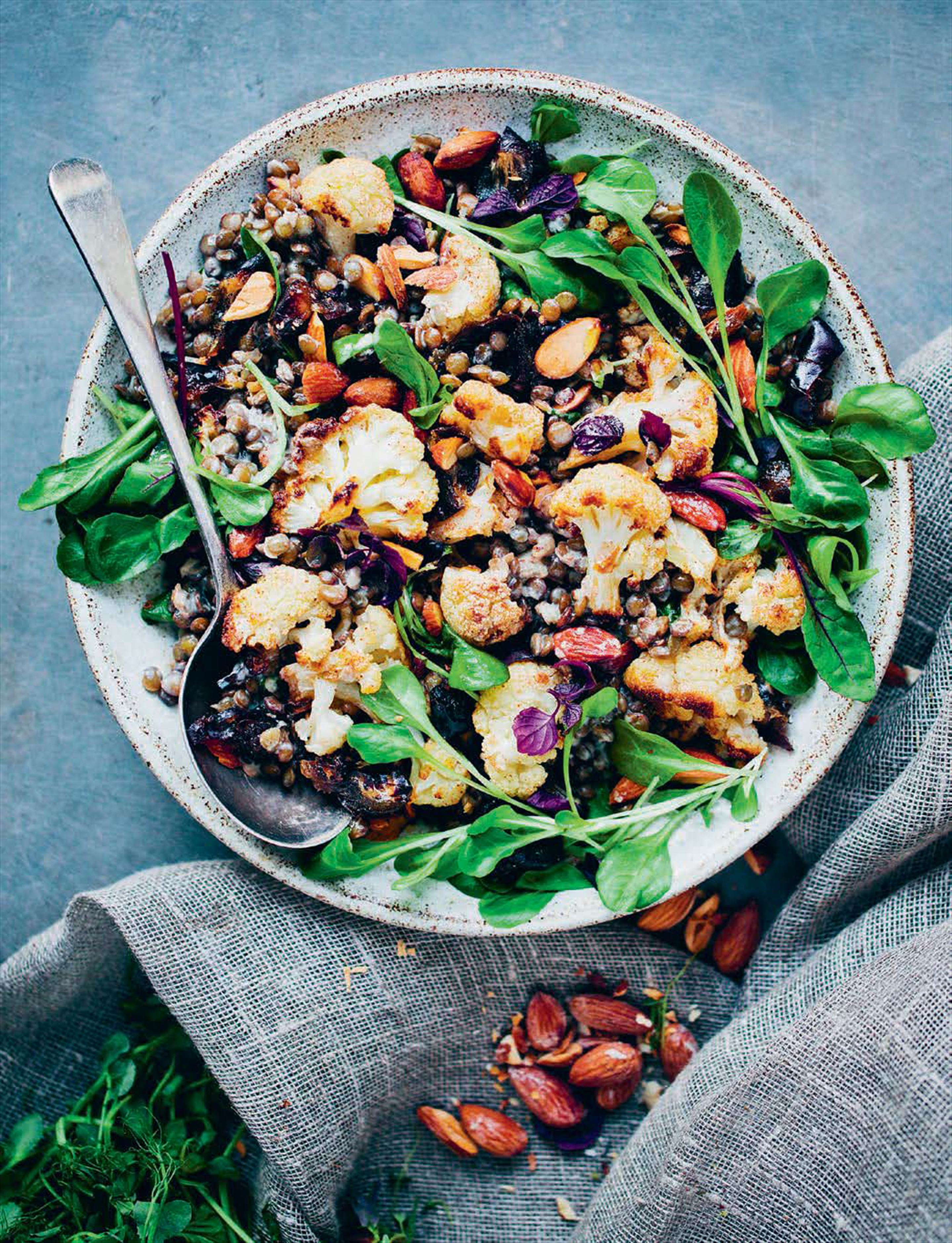 Middle-Eastern cauliflower and lentil salad