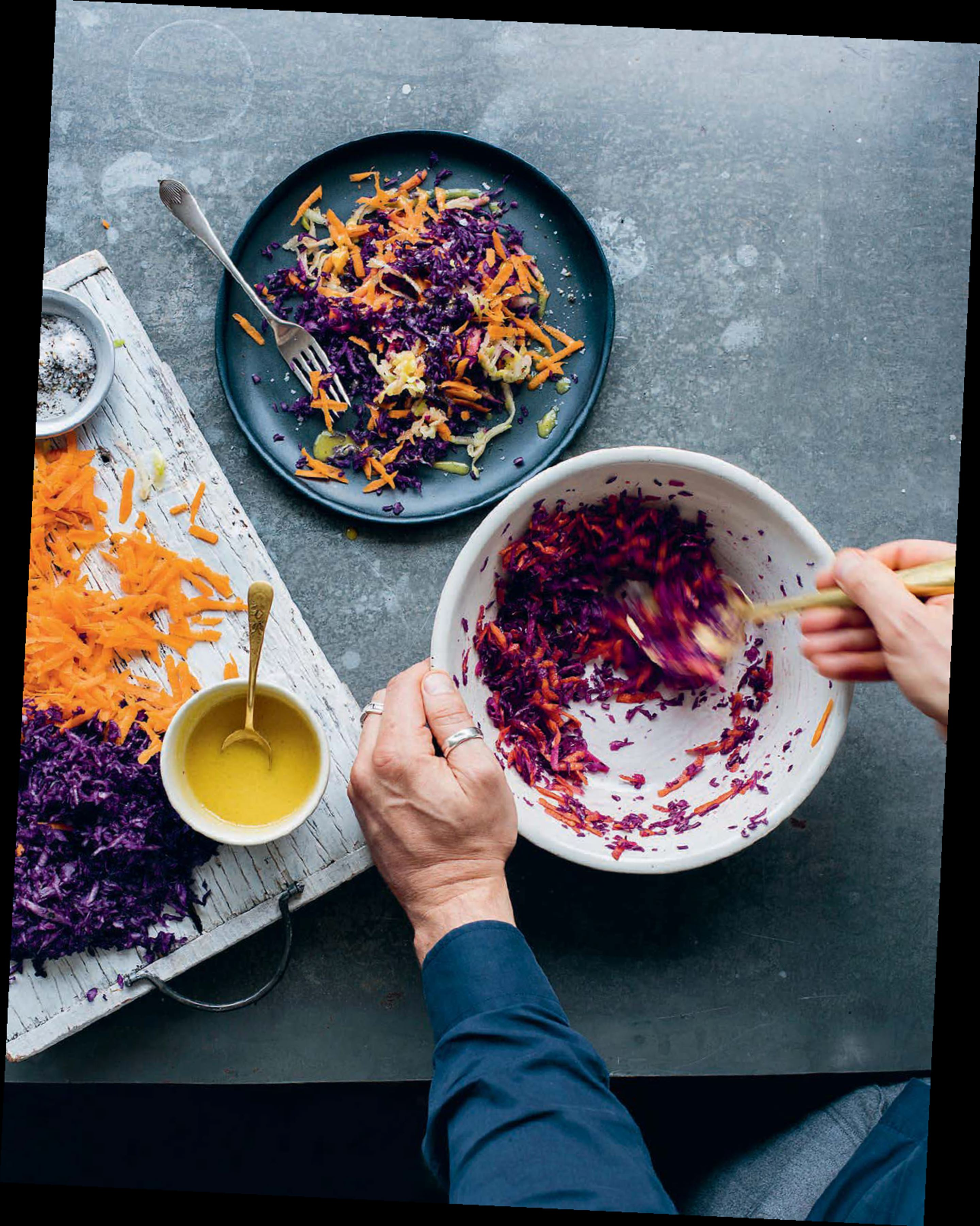 Carrot, apple and red cabbage sesame salad