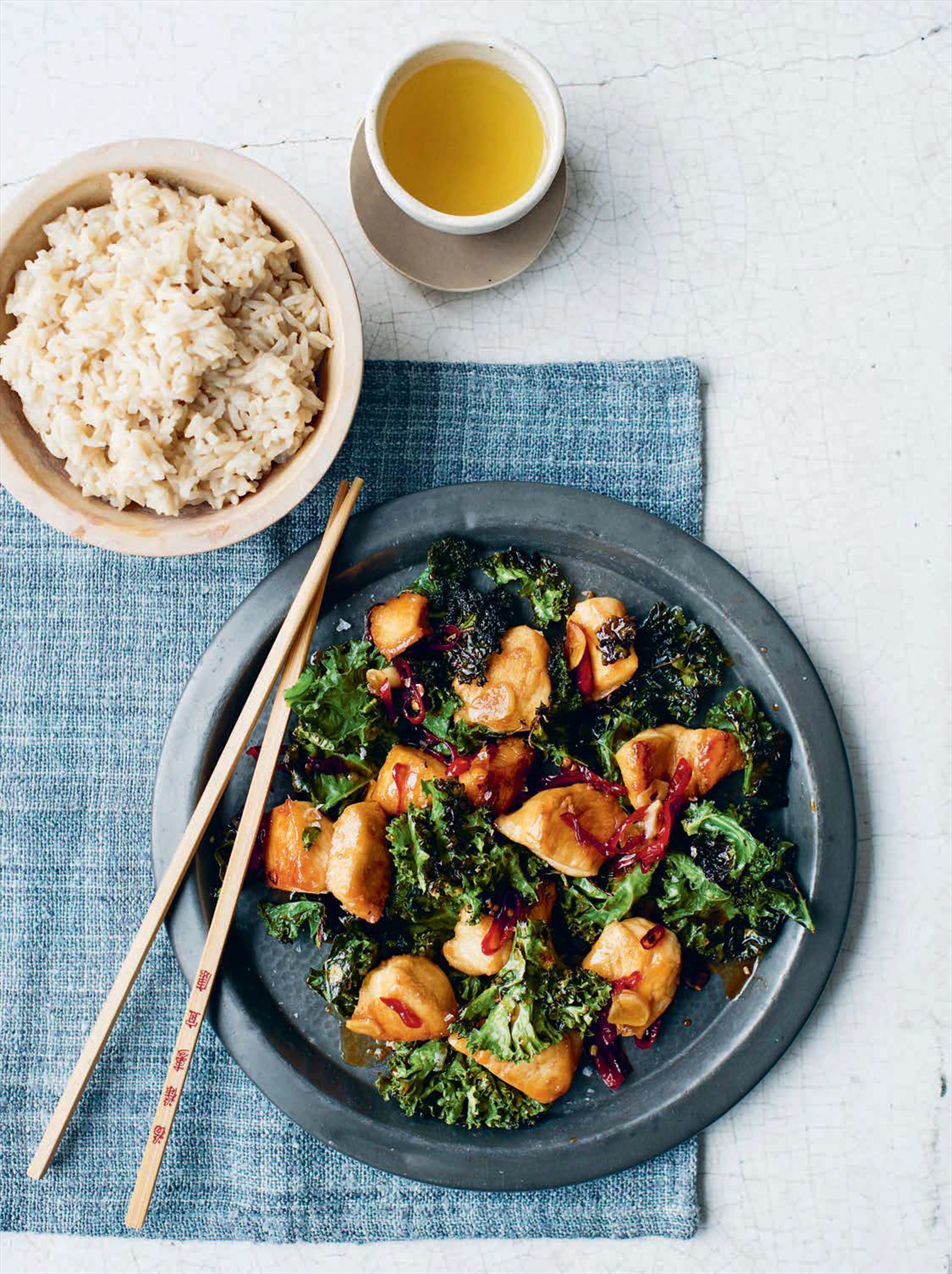 Sticky chilli chicken and greens