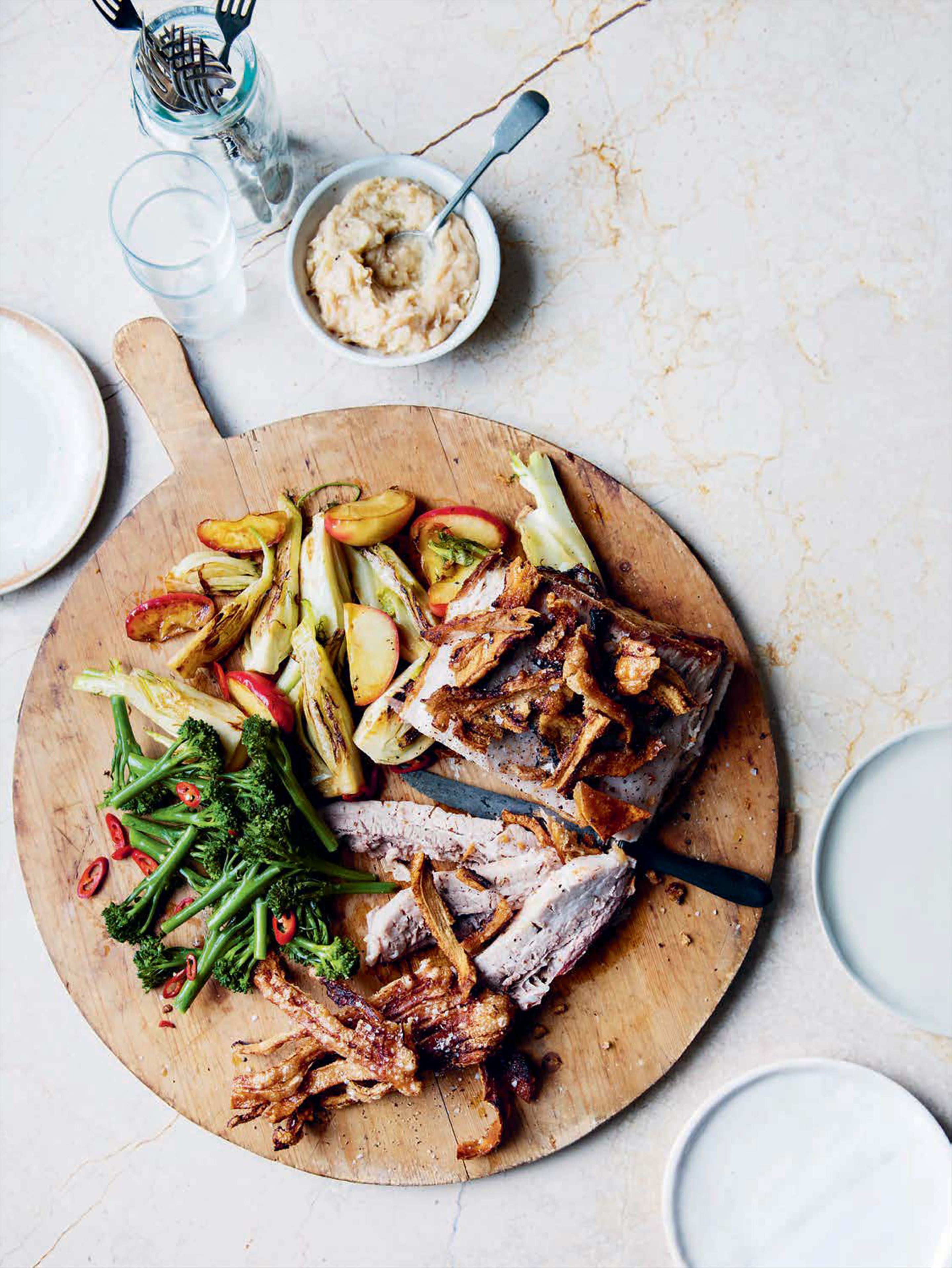 Roast pork with apple and fennel puree