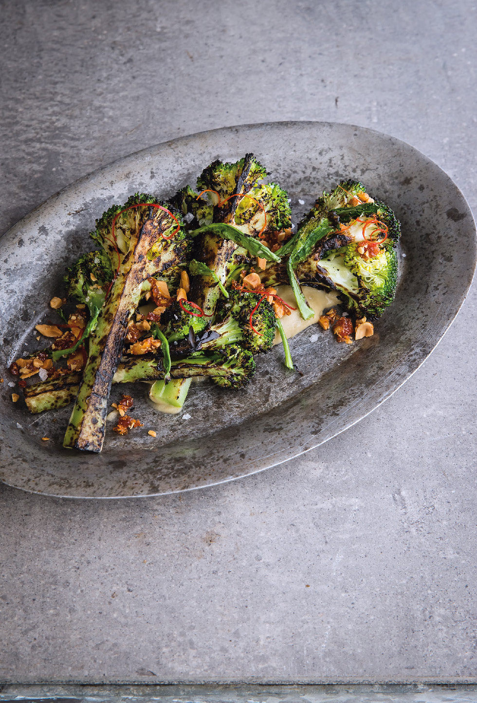 Broccoli, eggplant, fermented chilli brittle