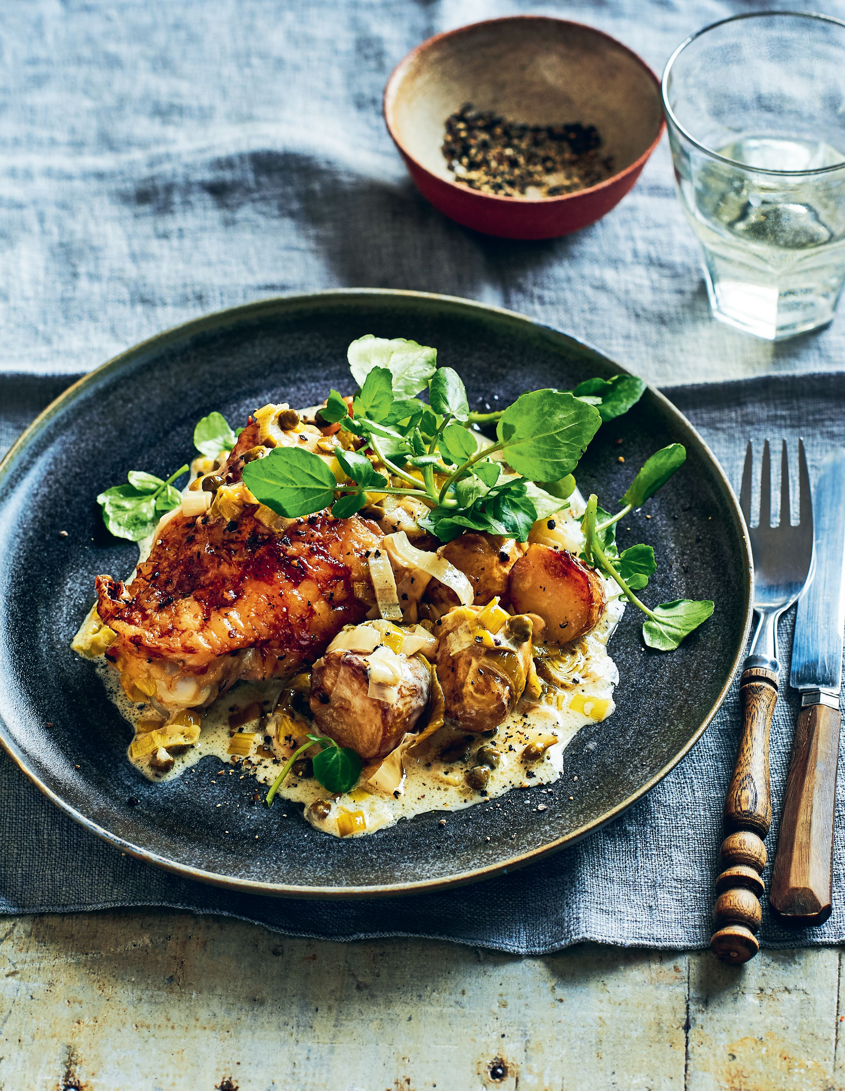 Chicken thighs with creamy leek and caper sauce