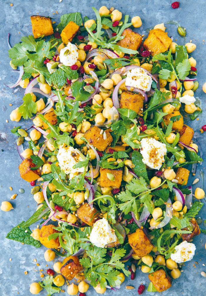 Roasted pumpkin and chickpea with barberries, feta and dukkah