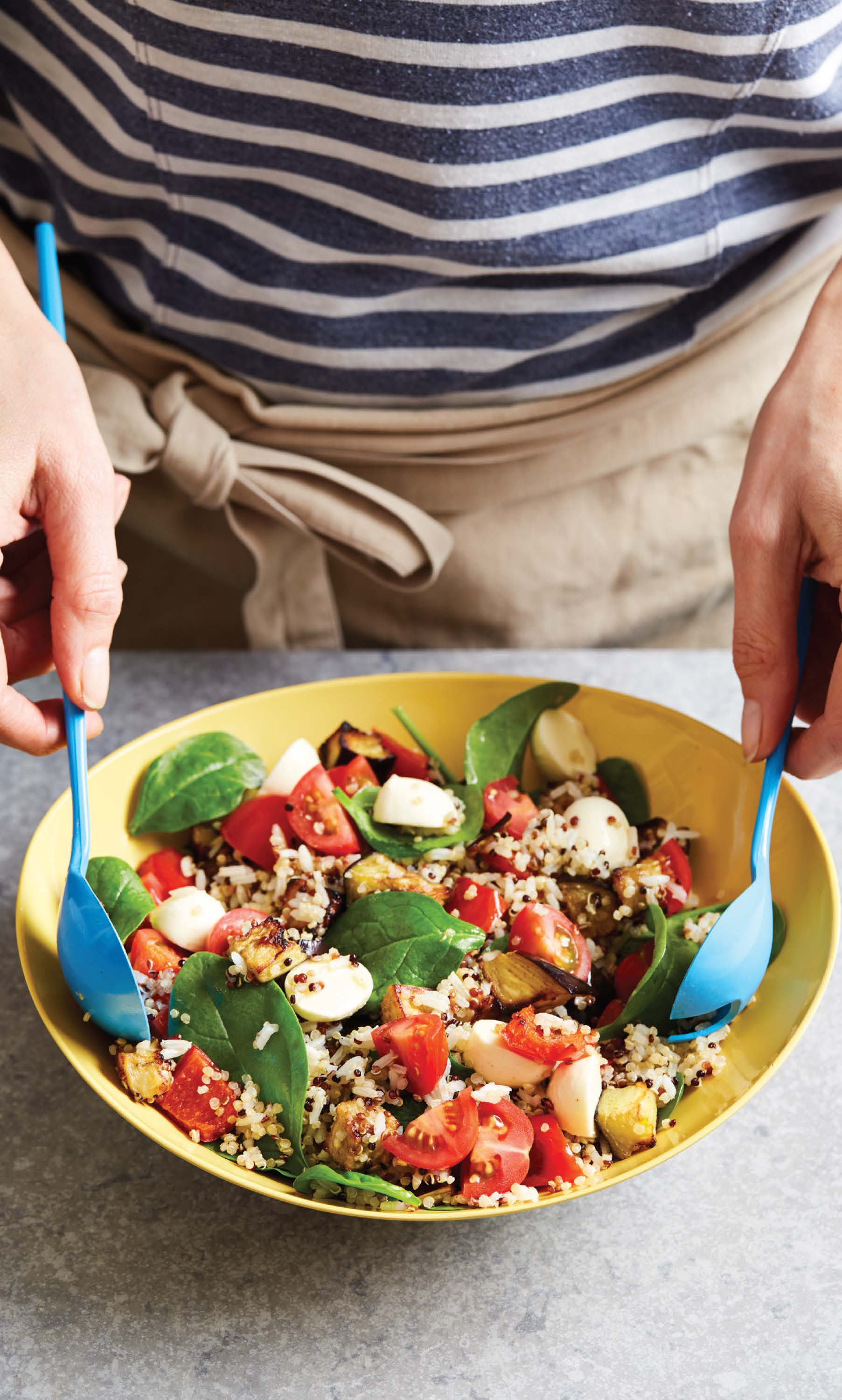Quinoa and rice salad with bocconcini or haloumi