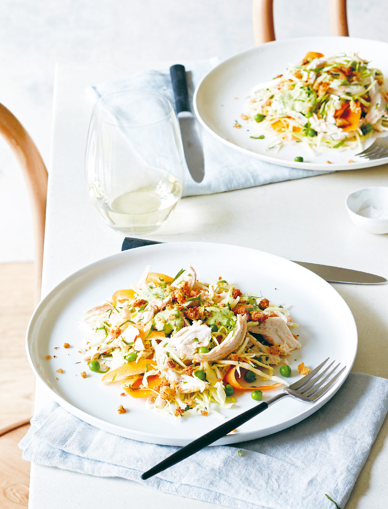 Roast chicken slaw with green goddess dressing and za'atar crumbs