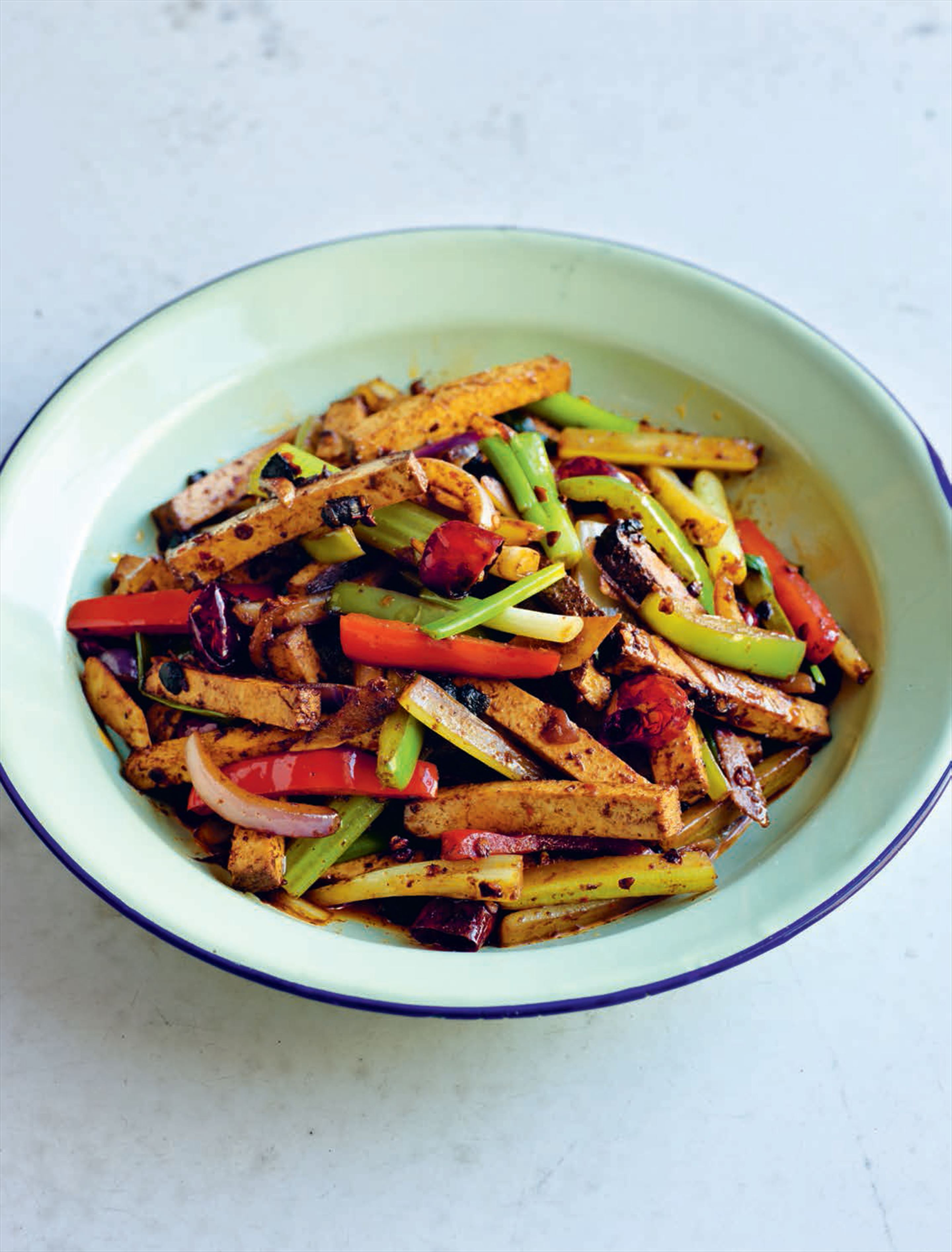 Stir-fried tofu with black bean and chilli
