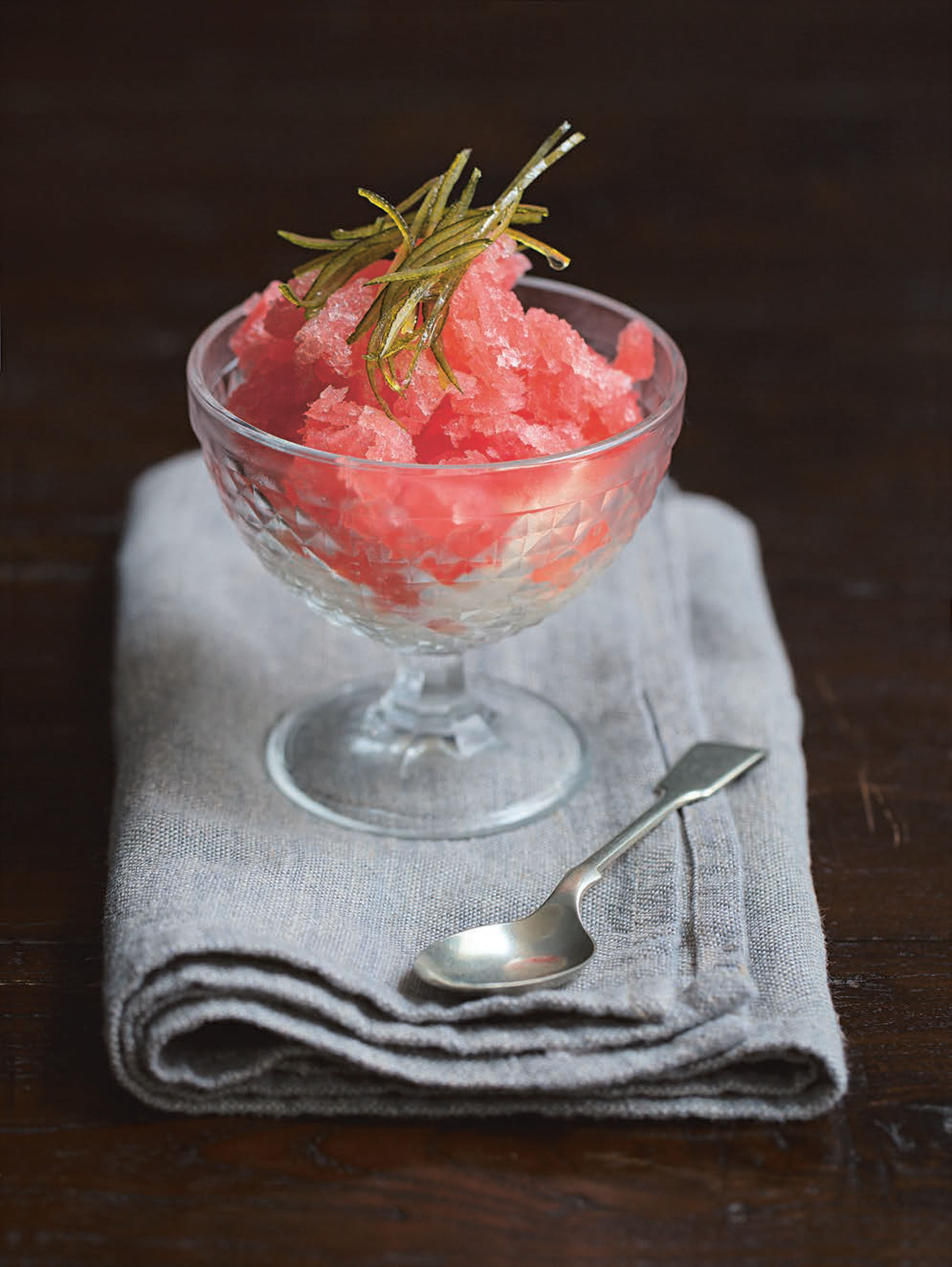 Blood orange granita with crème chantilly and candied lime