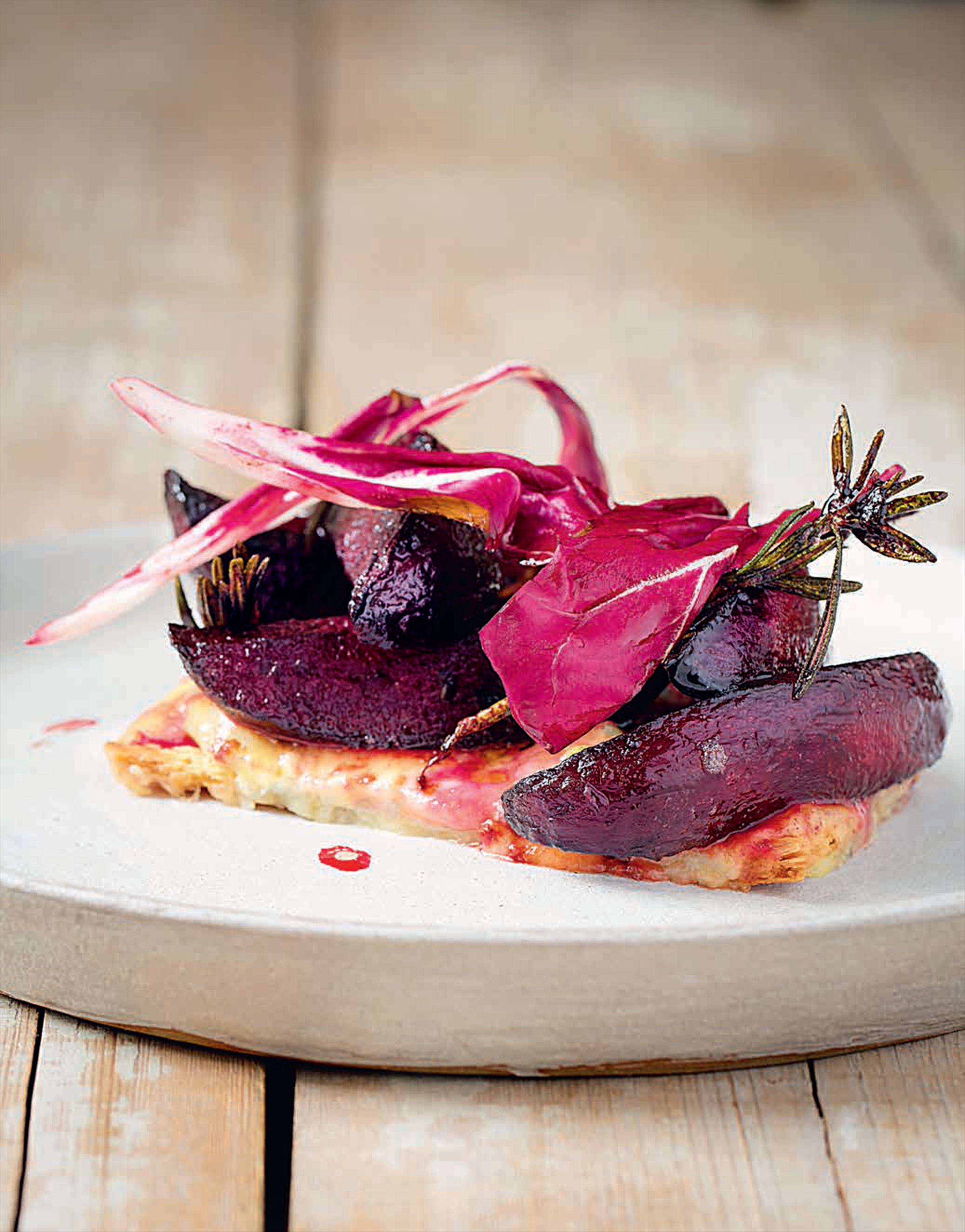 Stilton, puff pastry and beetroot