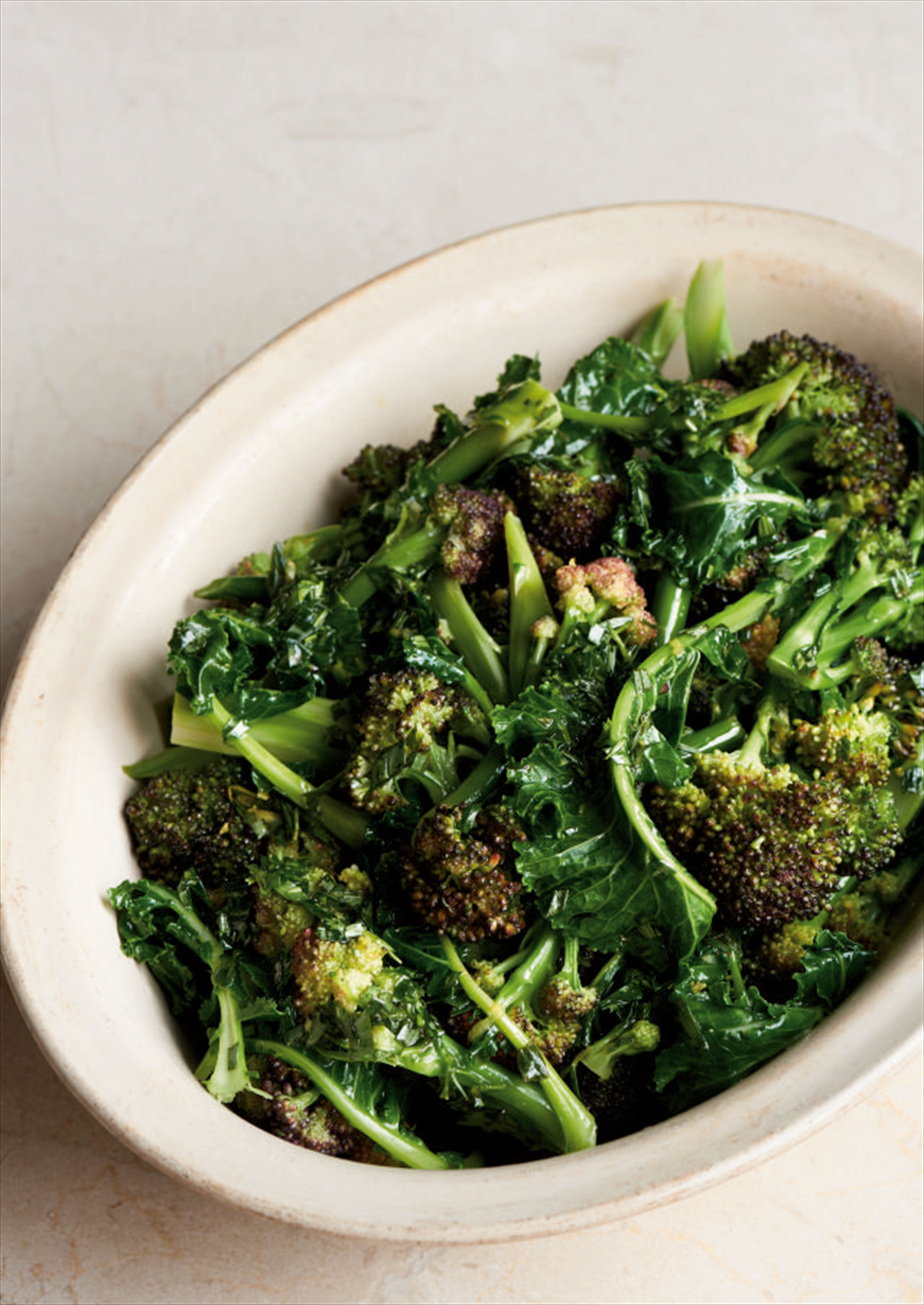 Purple sprouting broccoli with tarragon