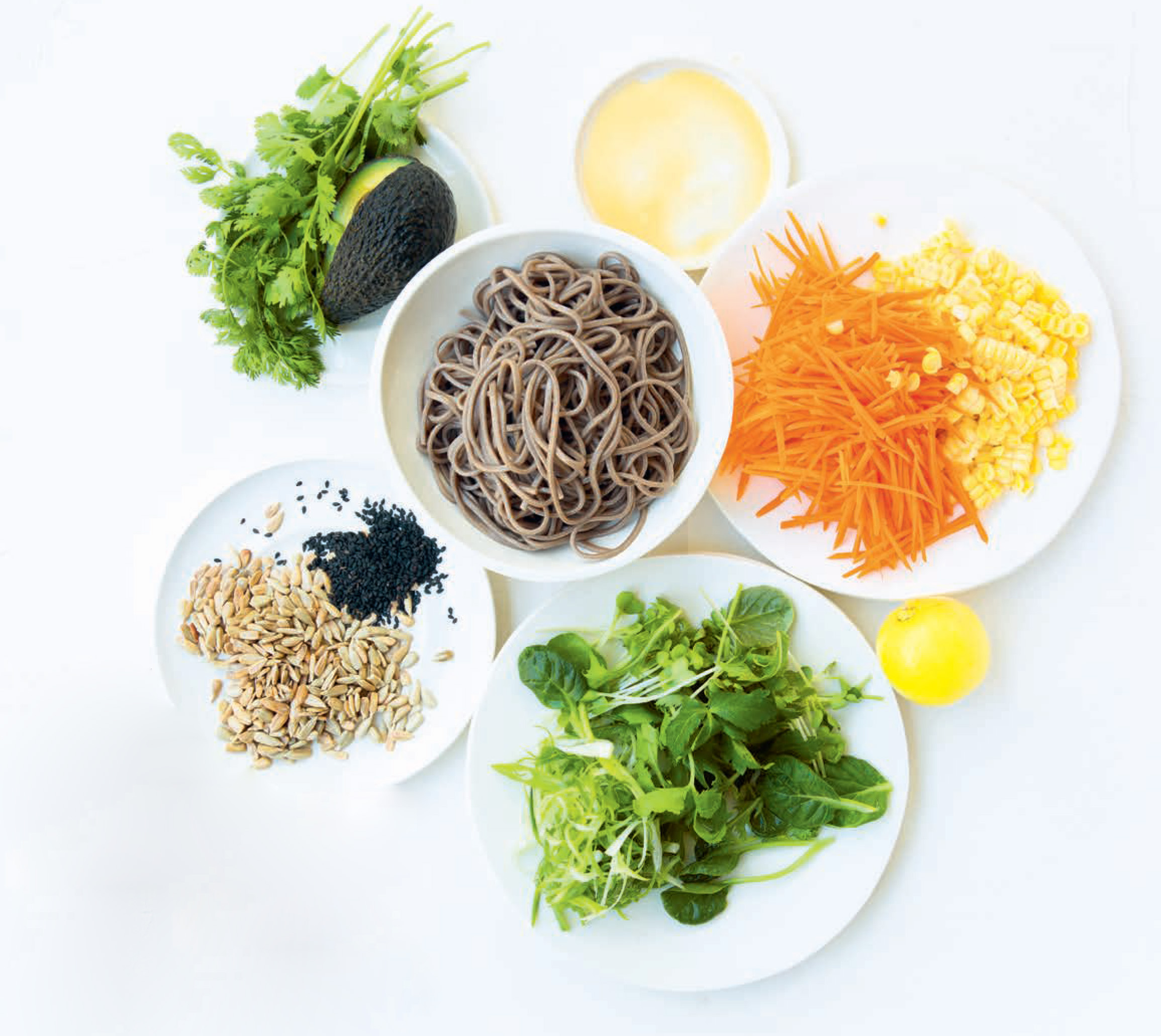 Soba noodles with miso dressing