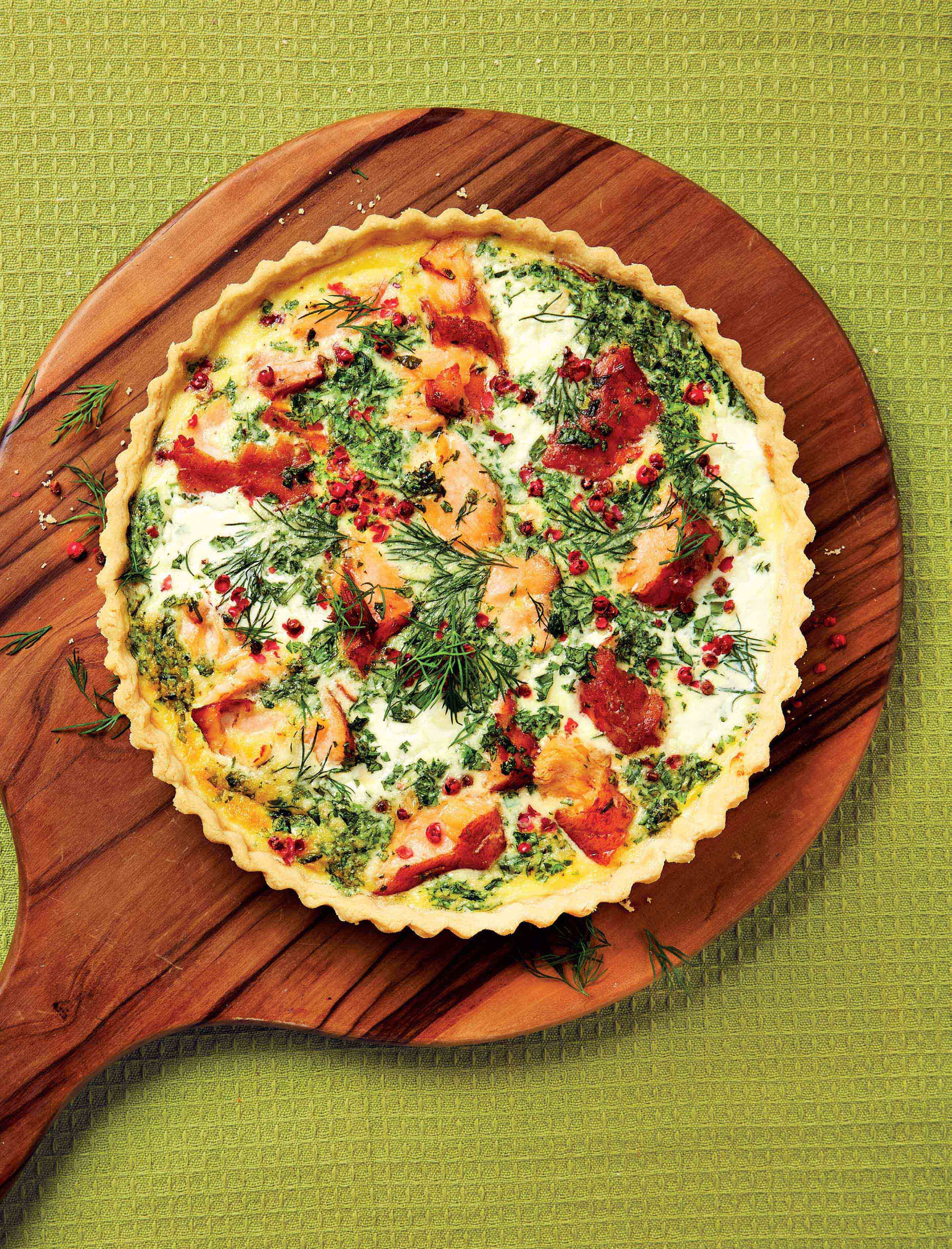 Salmon quiche with pink peppercorns