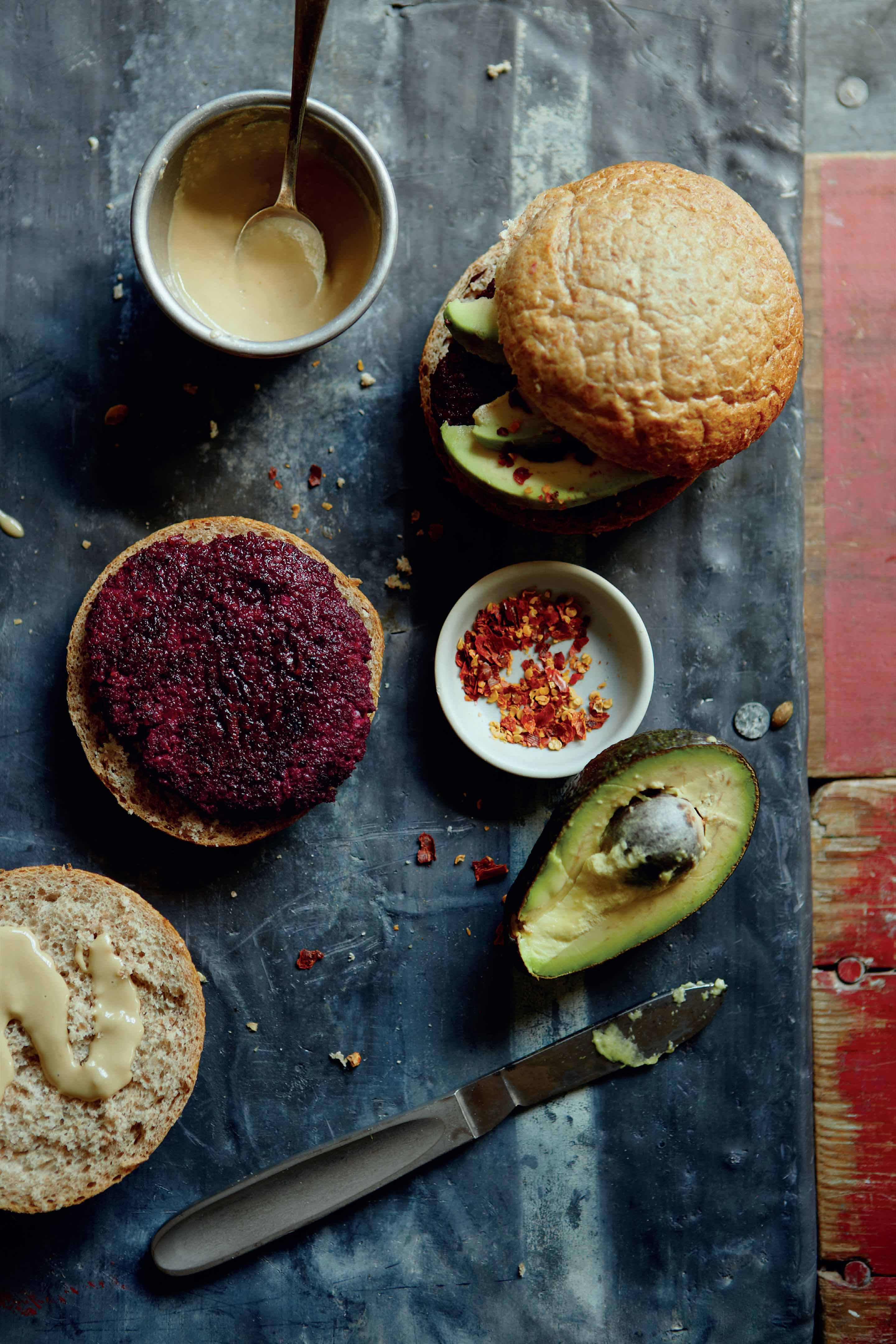 Beetroot, quinoa, black bean and flaxseed burgers