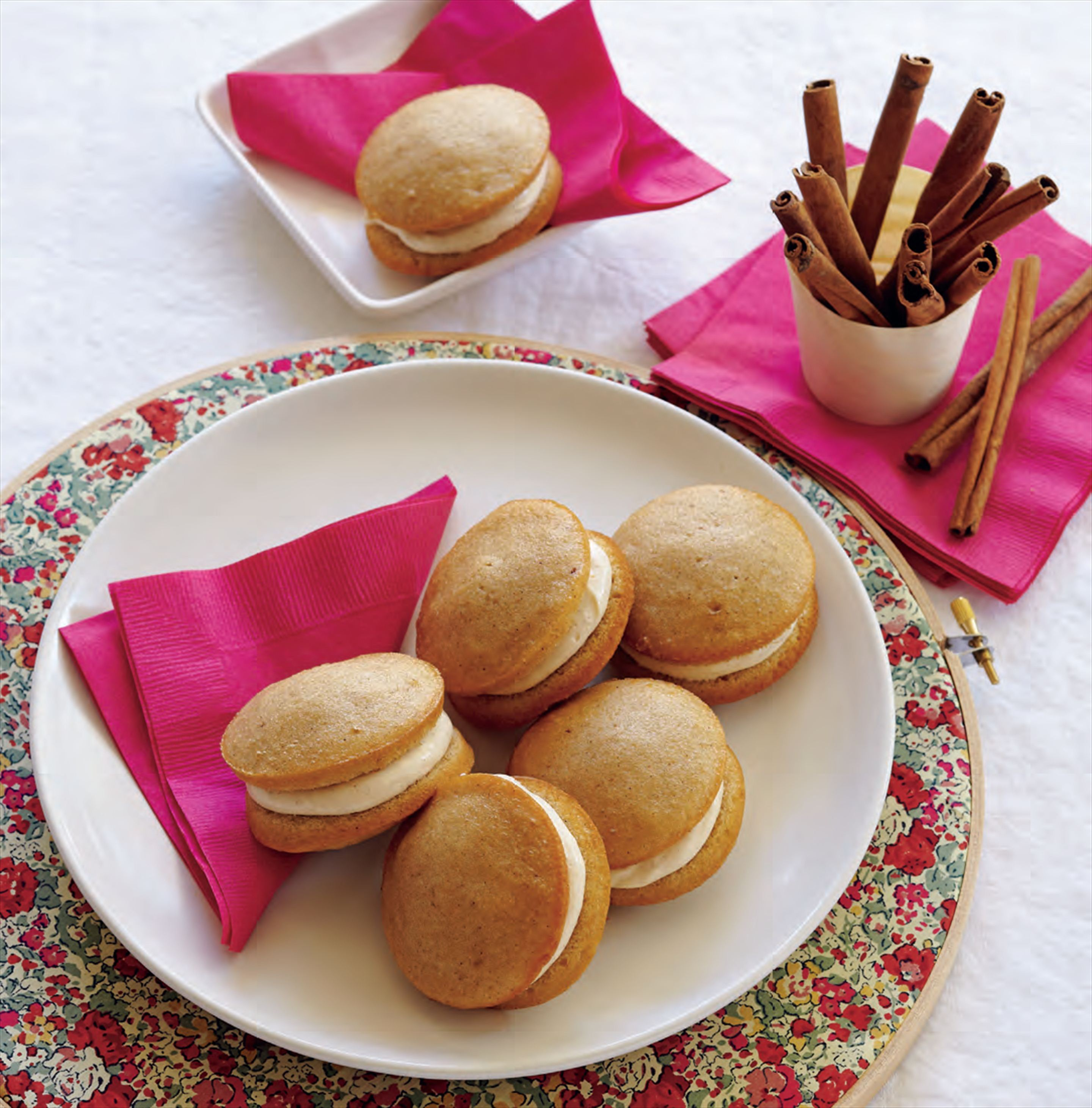 Ginger whoopie pies with spiced candied ginger cream