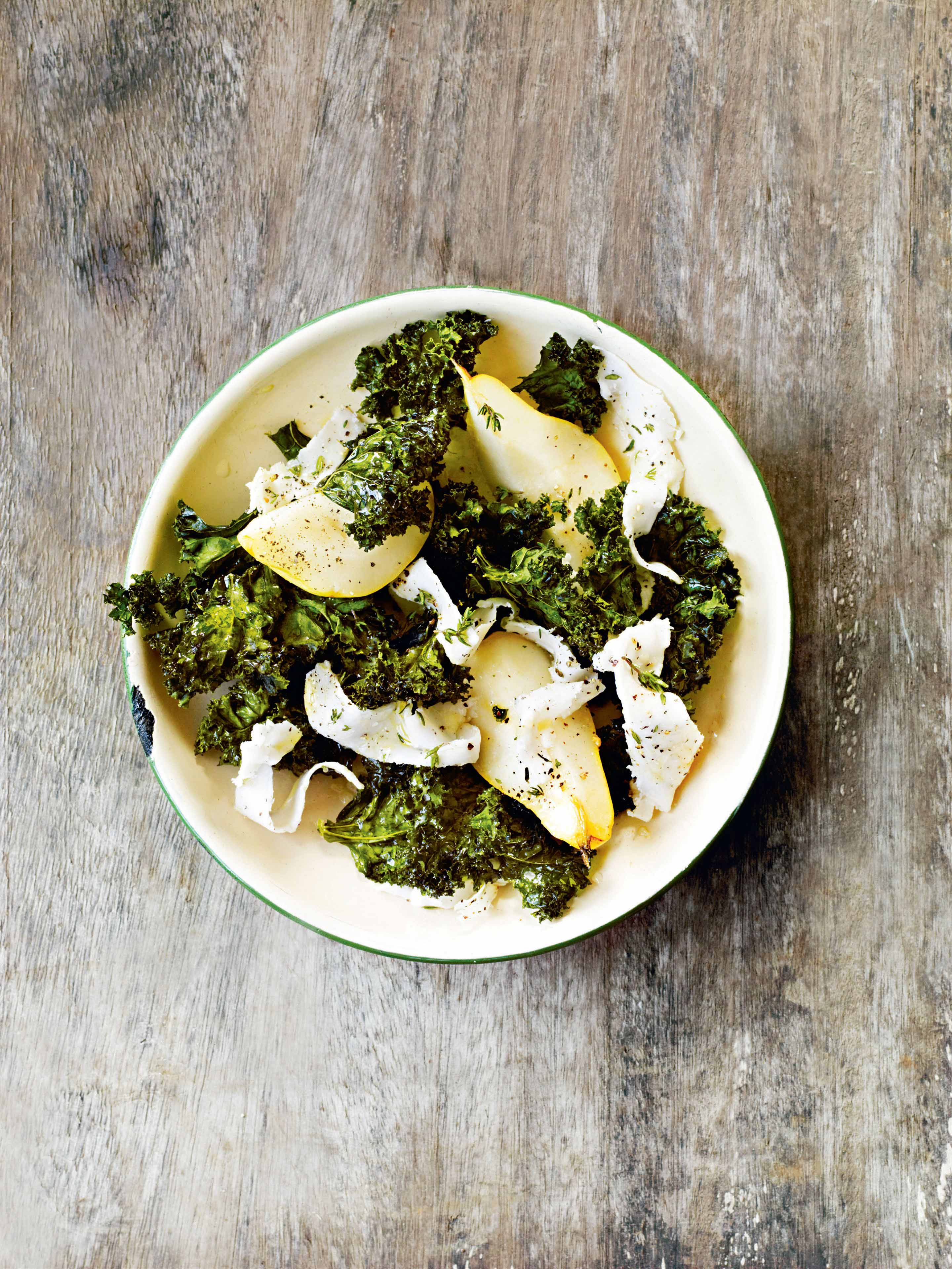 Pears with crisped kale & lardo