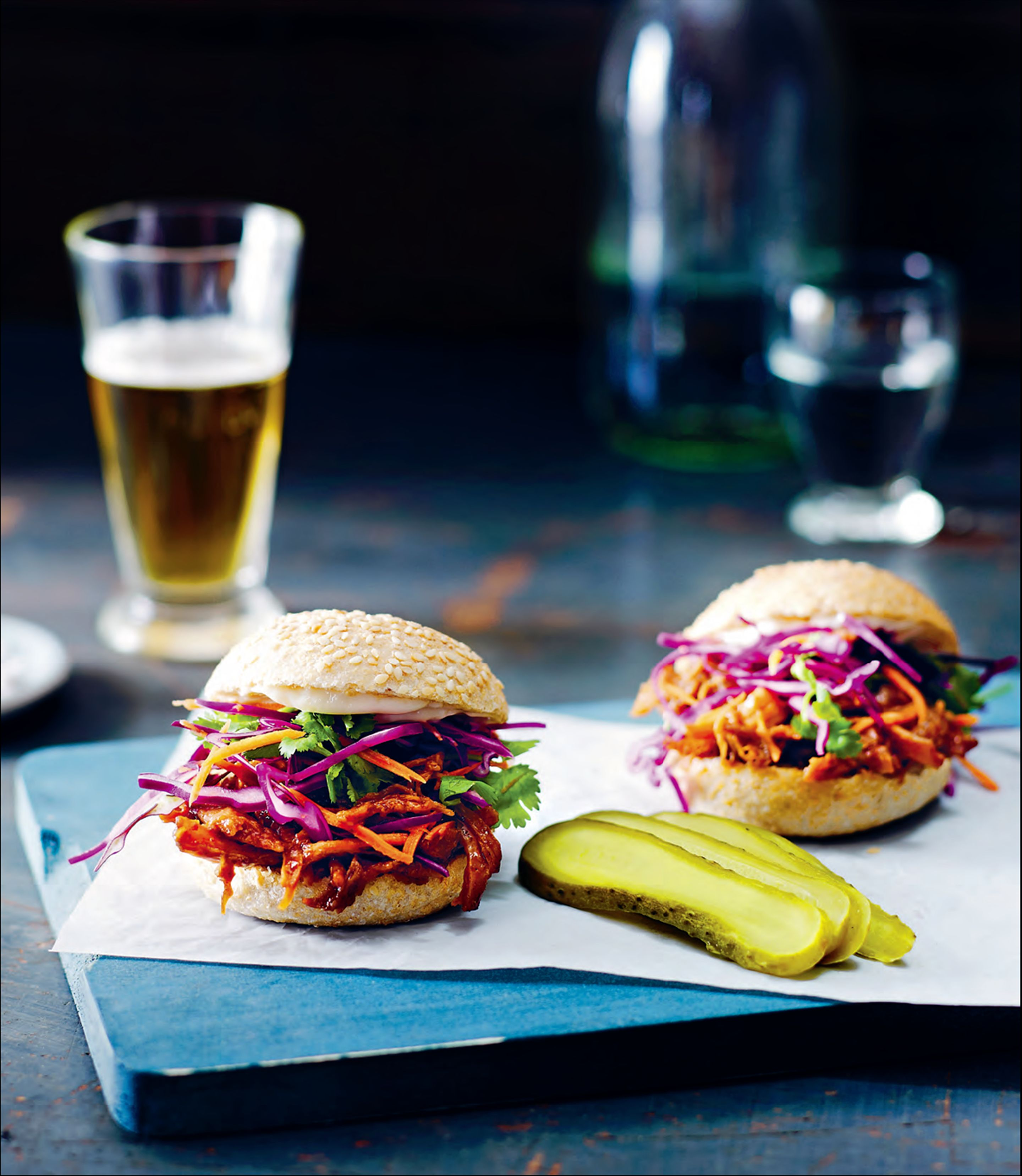 Pulled pork sliders with coleslaw and pickles