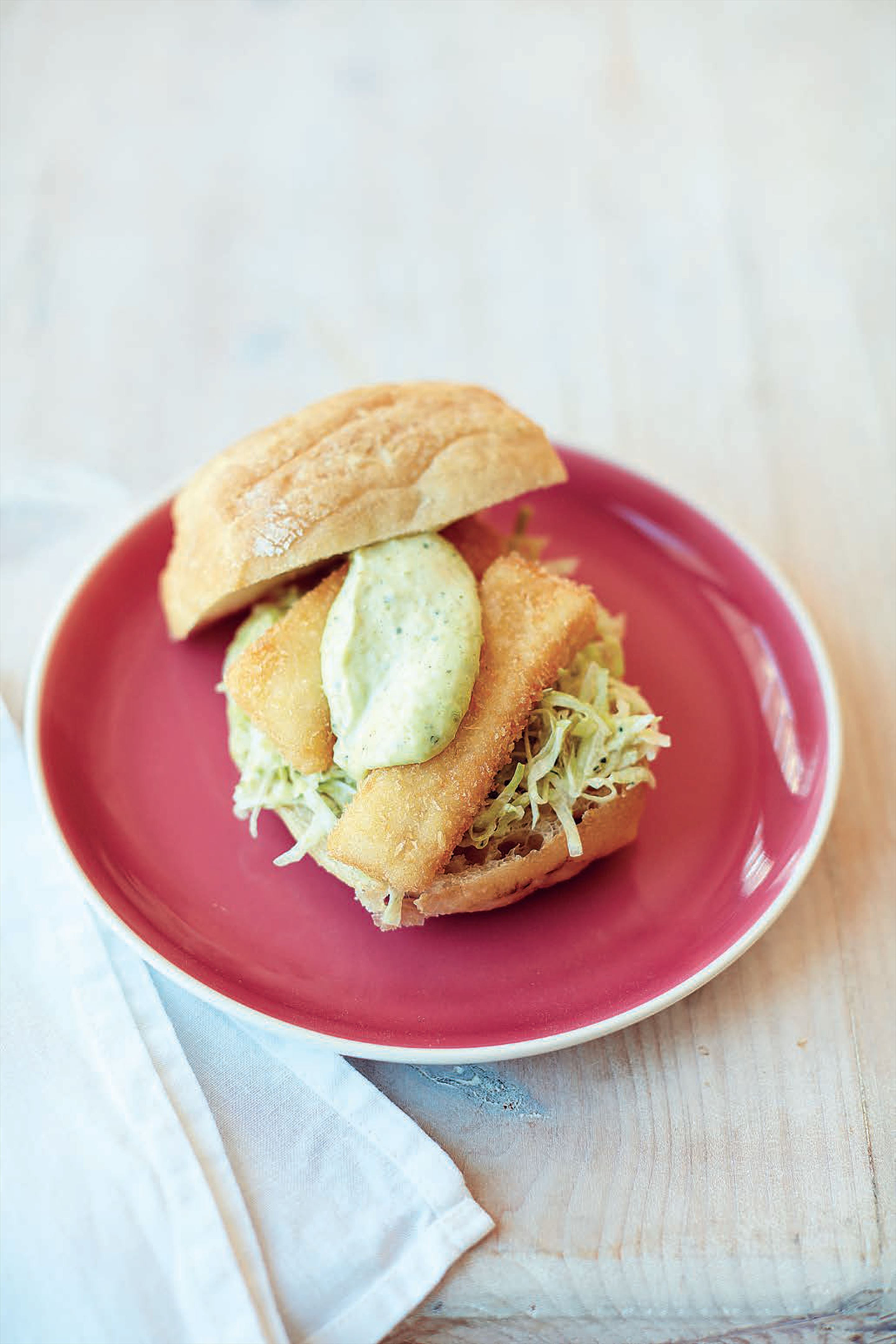 Fish finger roll, pea and mint mayonnaise