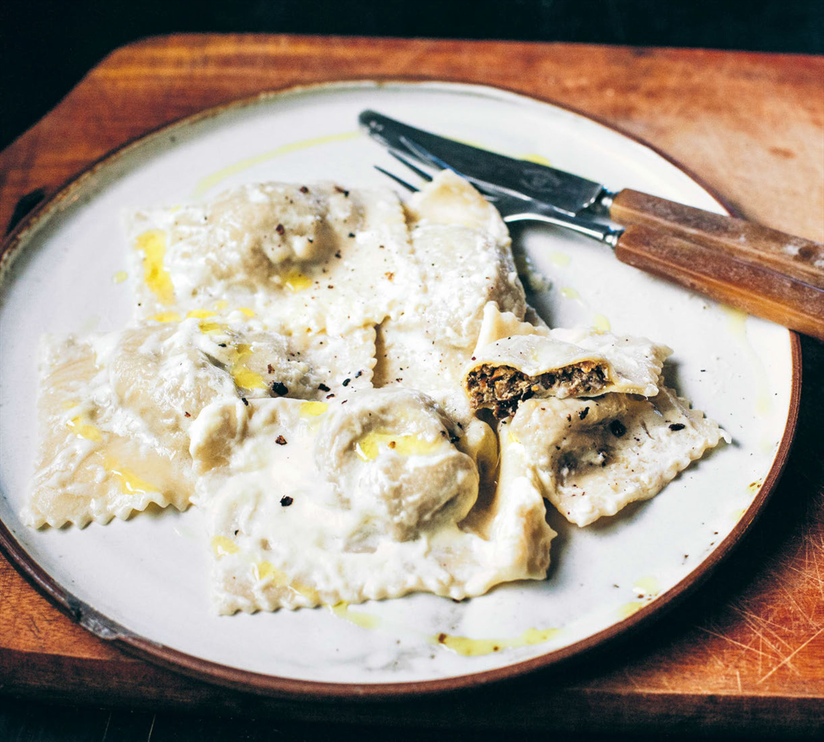 Three-way wild mushroom ravioli