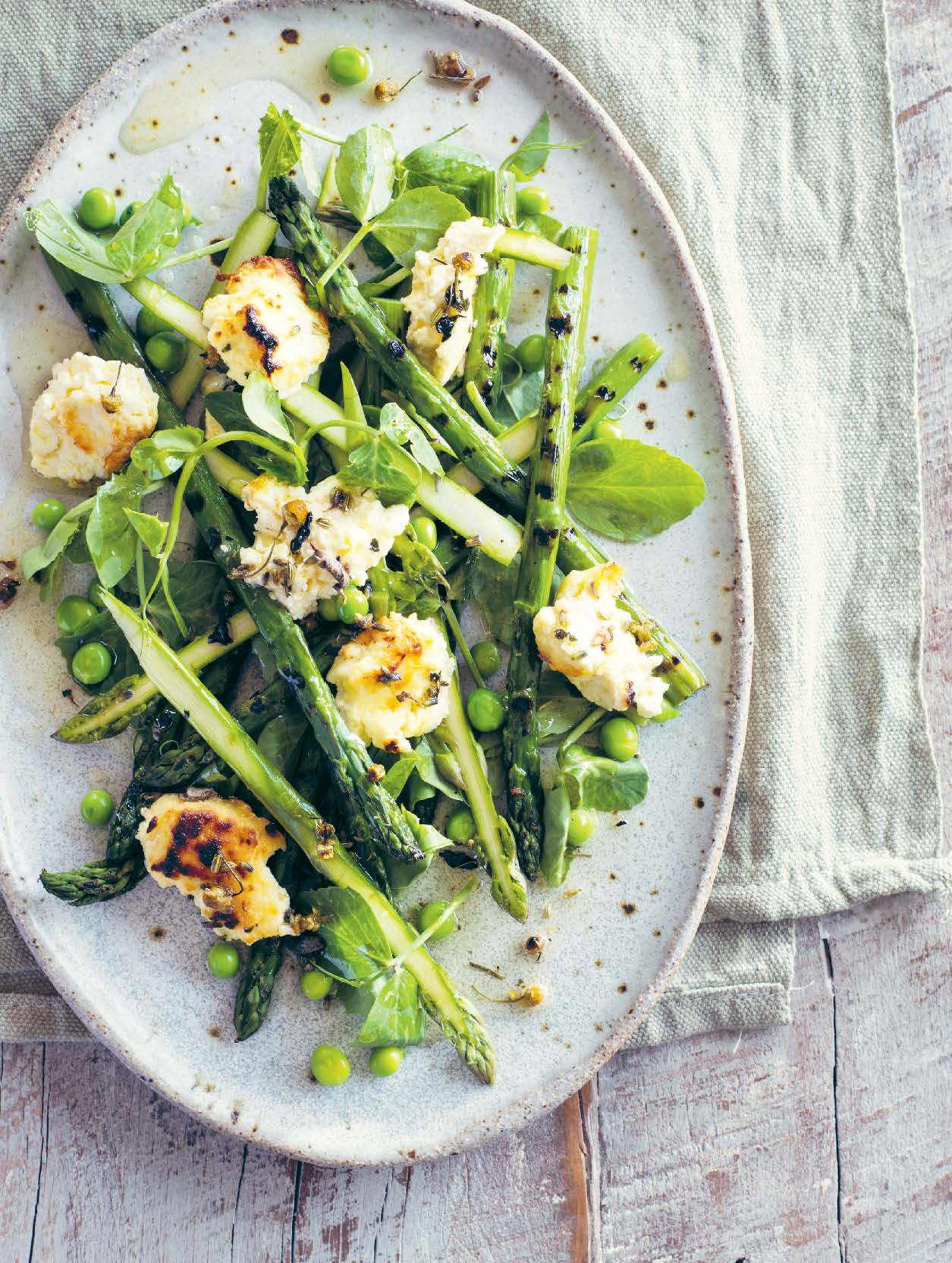 Asparagus, peas and chamomile with ricotta
