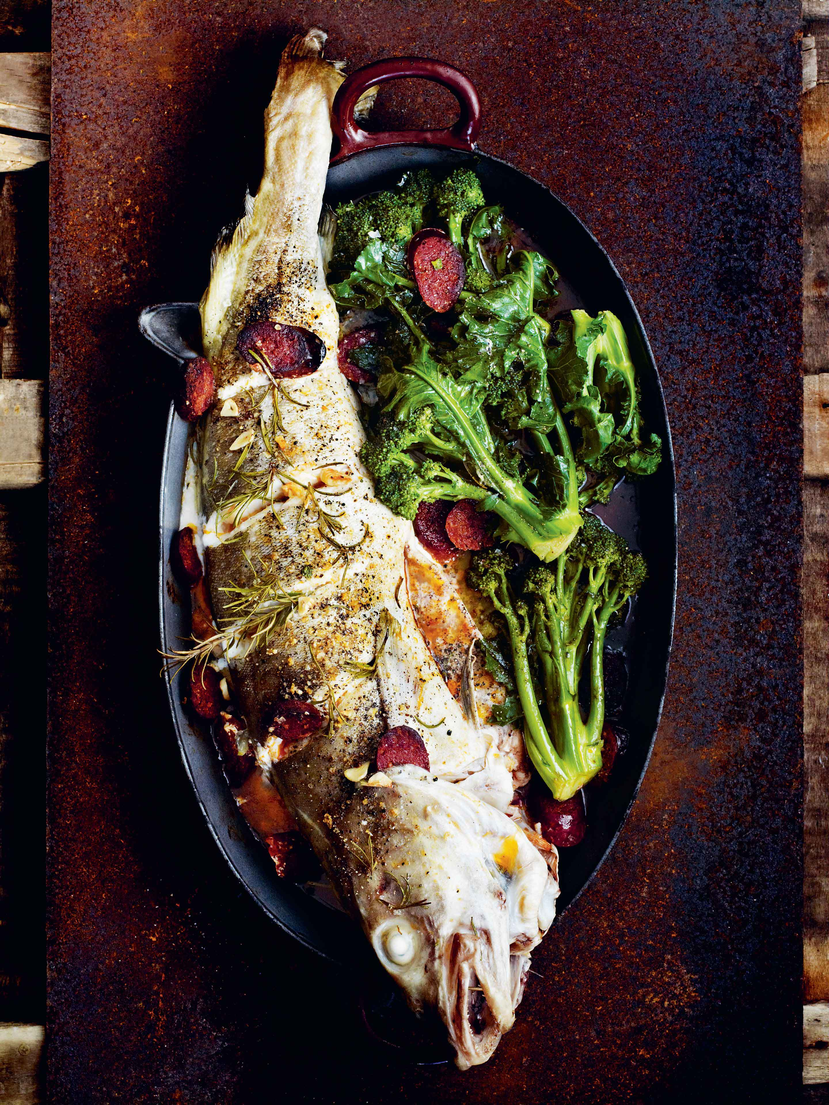Slashed and roast cod with chorizo, rosemary & purple-sprouting broccoli