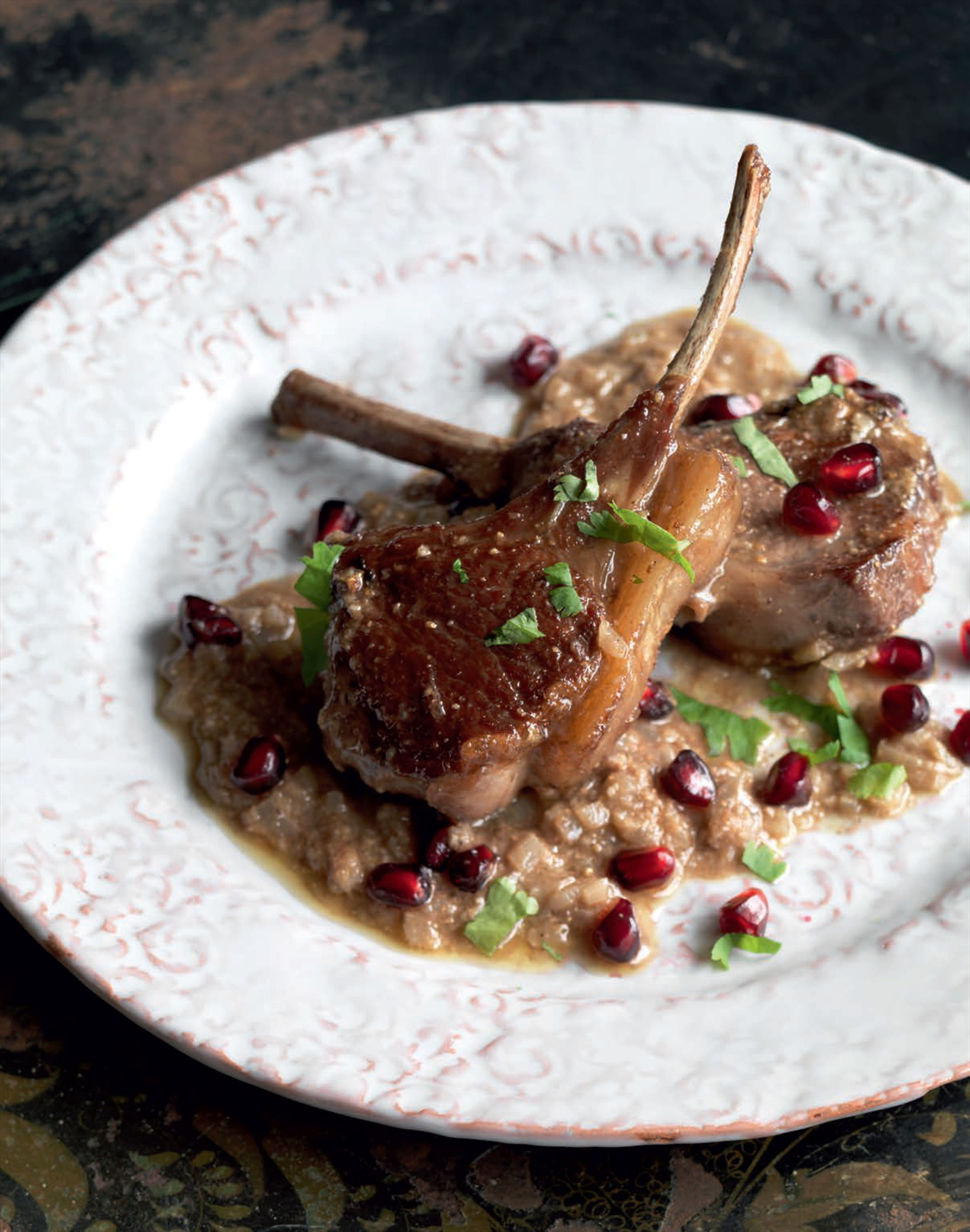 Tangy lamb chops with dried pomegranate