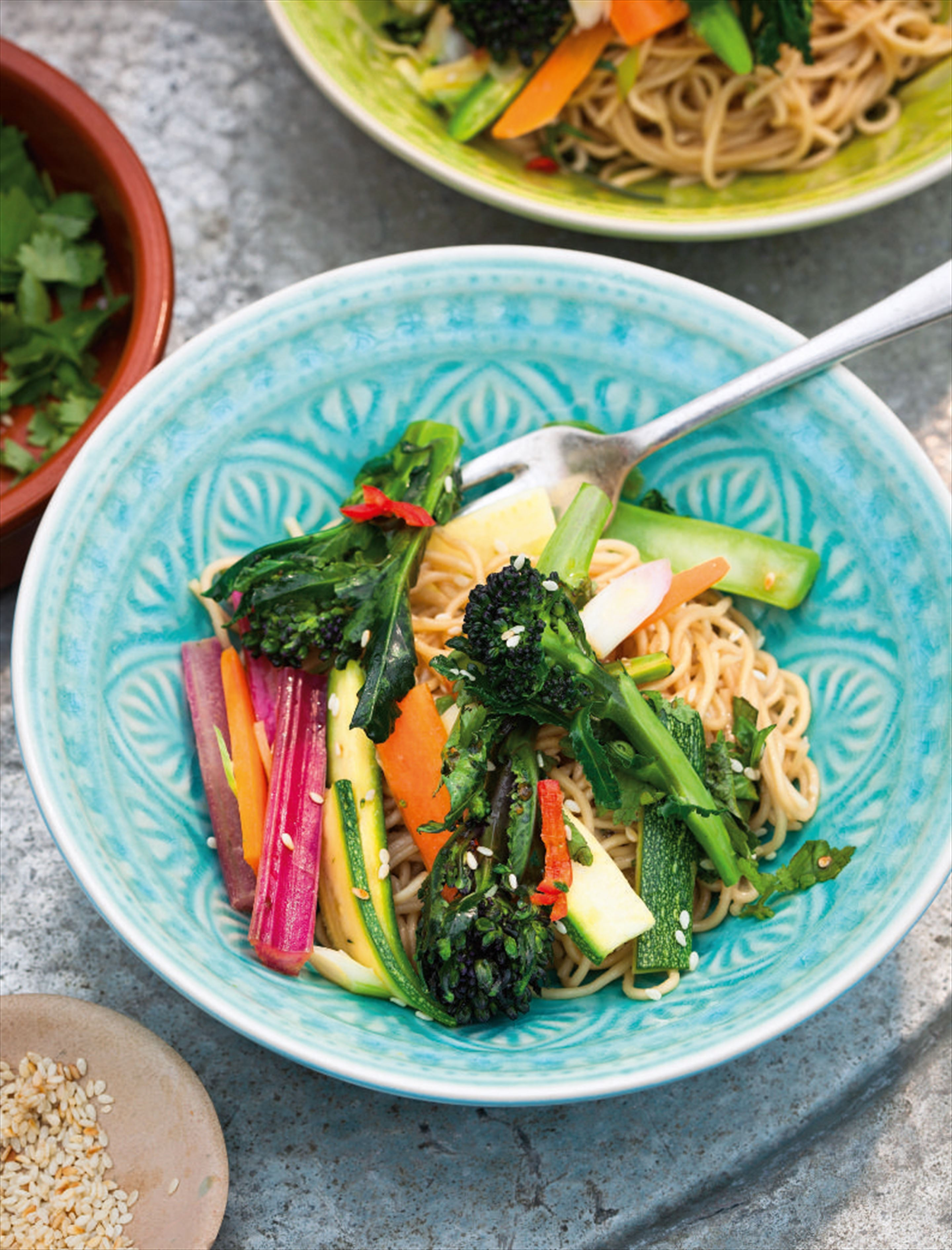Summer vegetable stir-fry with peanut and sesame noodles